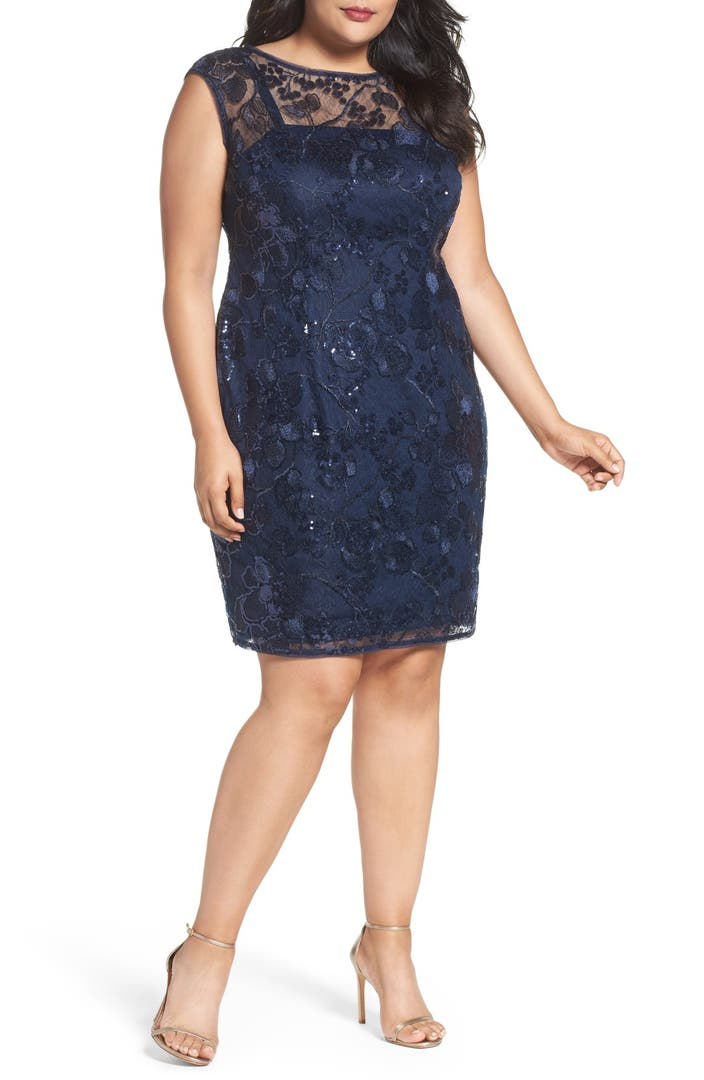 Adrianna Papell Sequin Lace Sheath Dress (Plus Size ...