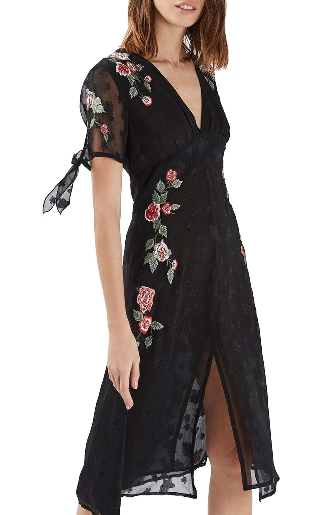 Alternate Image 1 Selected - Topshop Embroidered Midi Dress