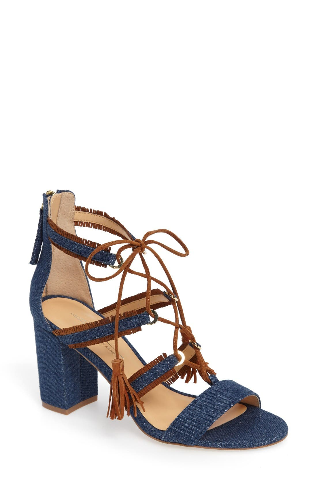 by Zendaya Meadow Ghillie Fringe Sandal