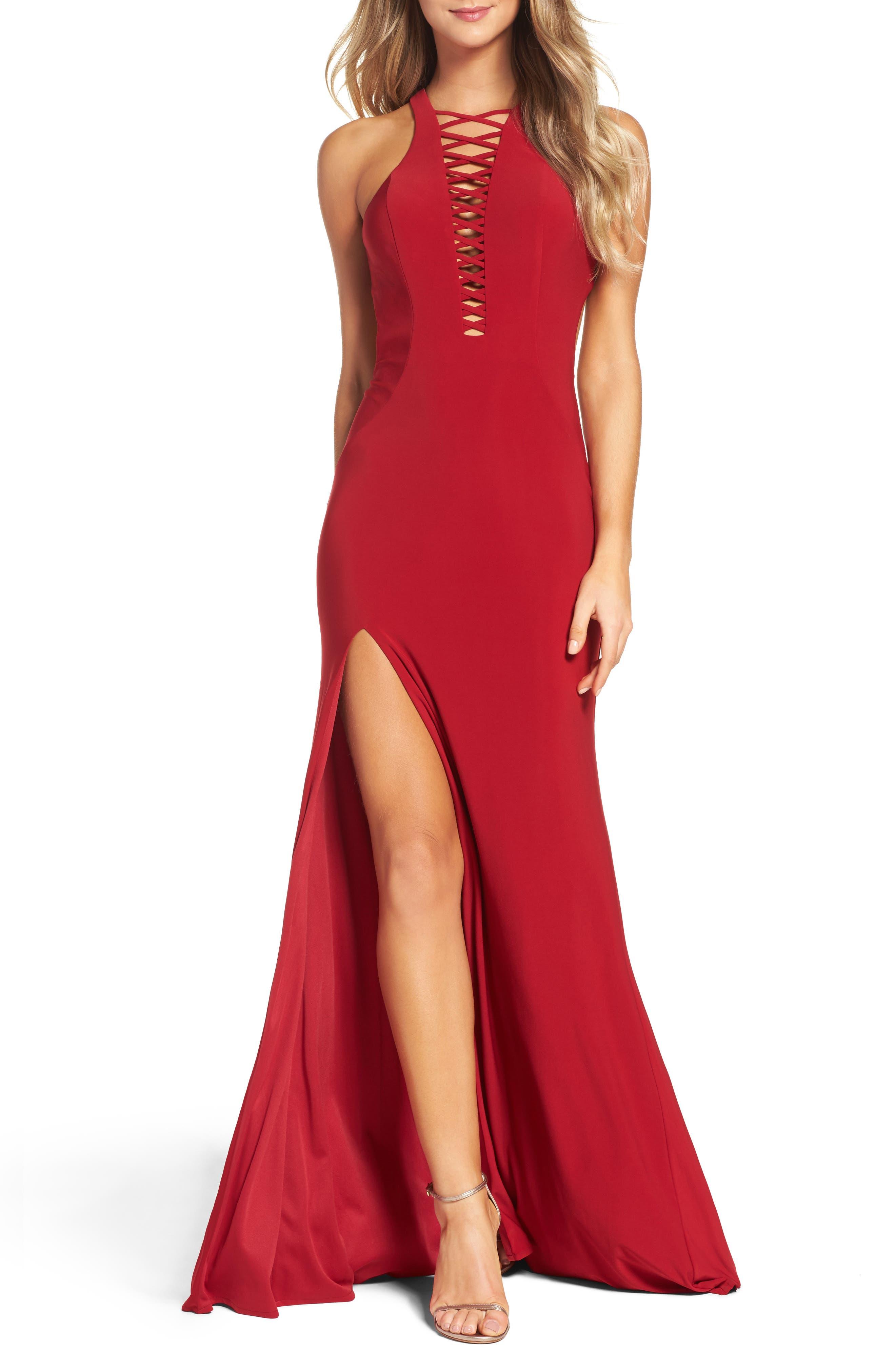Alternate Image 1 Selected - La Femme Slit Gown