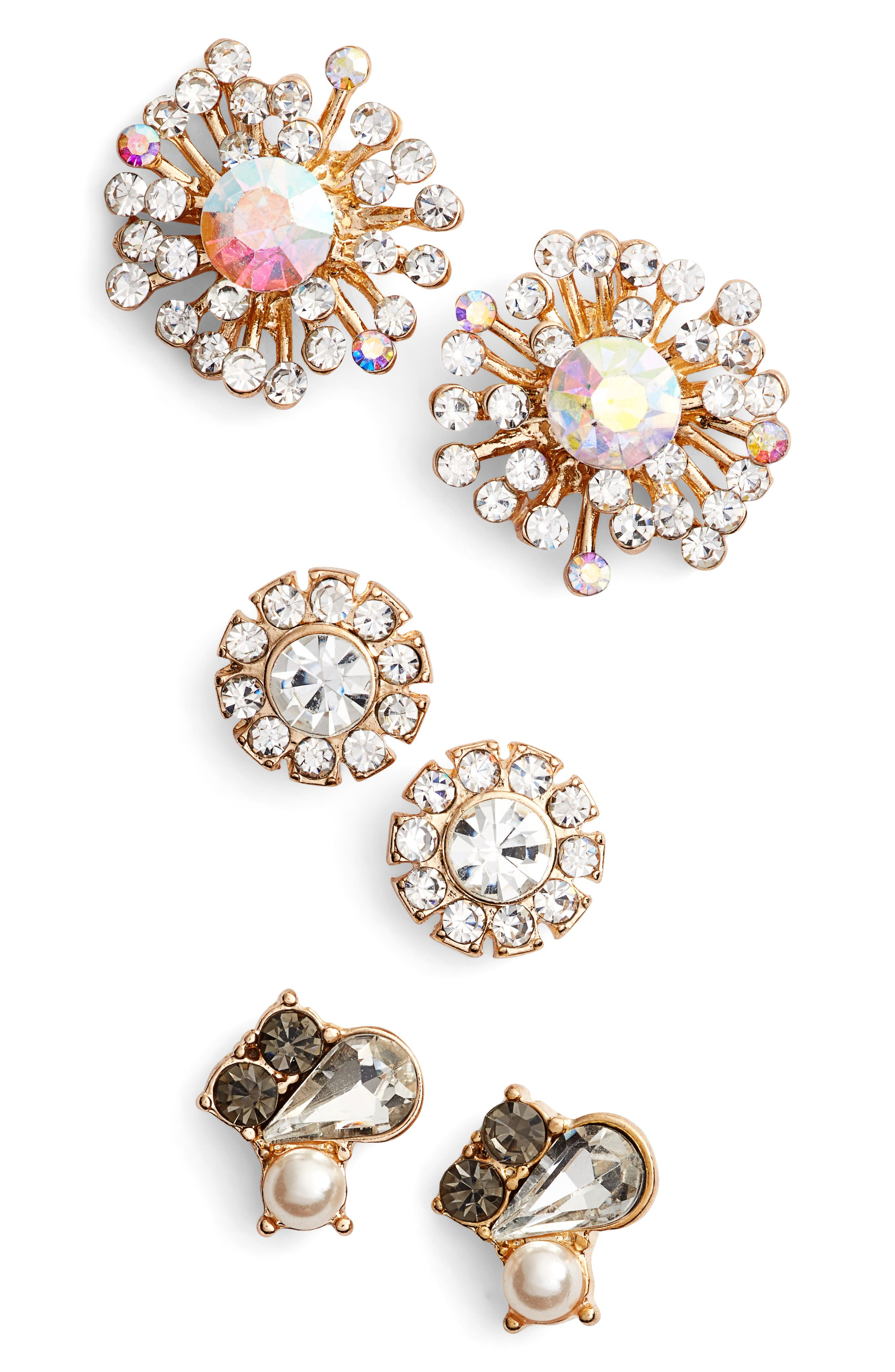 Natasha Couture Set of 3 Stud Earrings