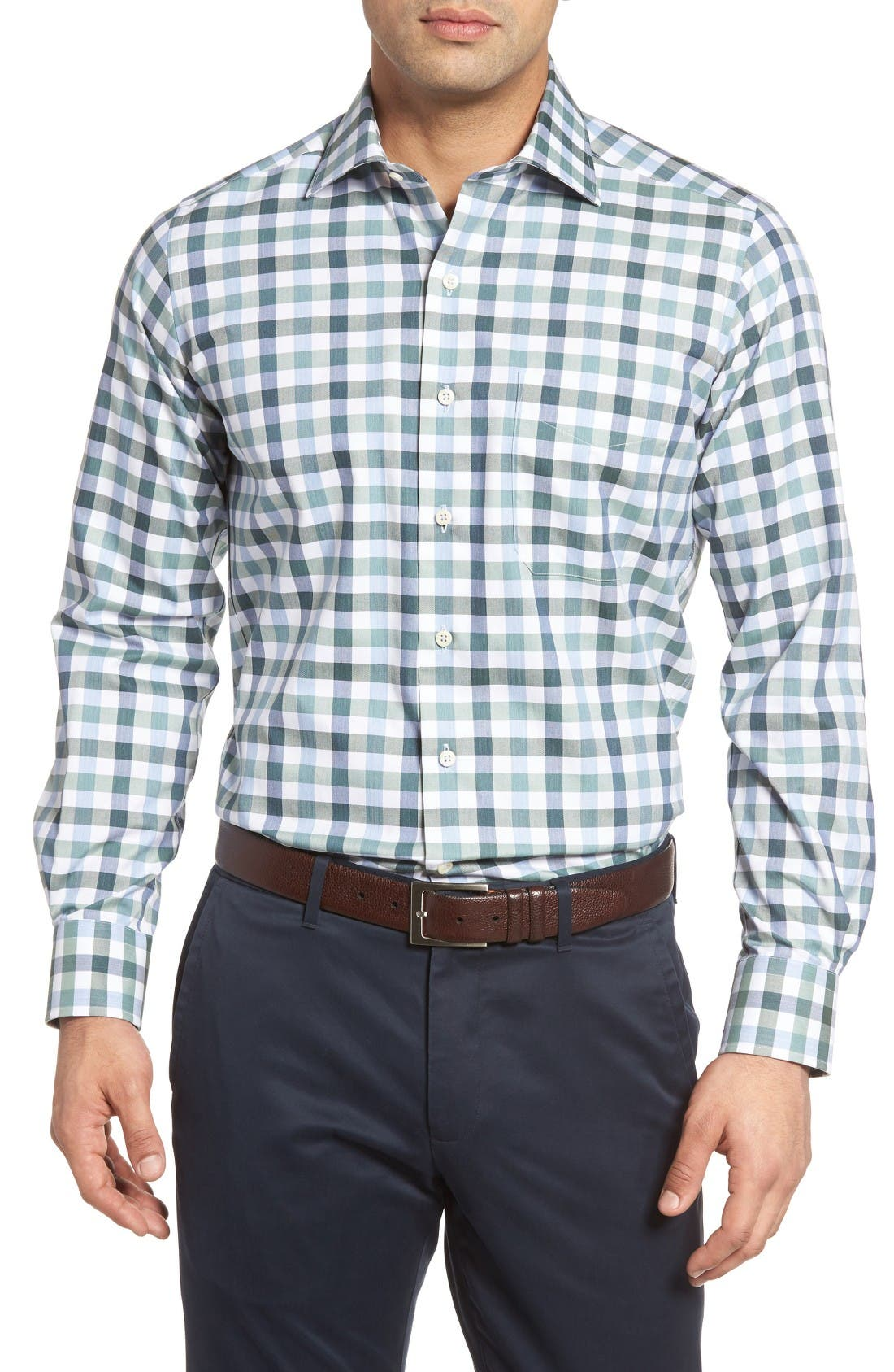 DAVID DONAHUE Regular Fit Plaid Sport Shirt