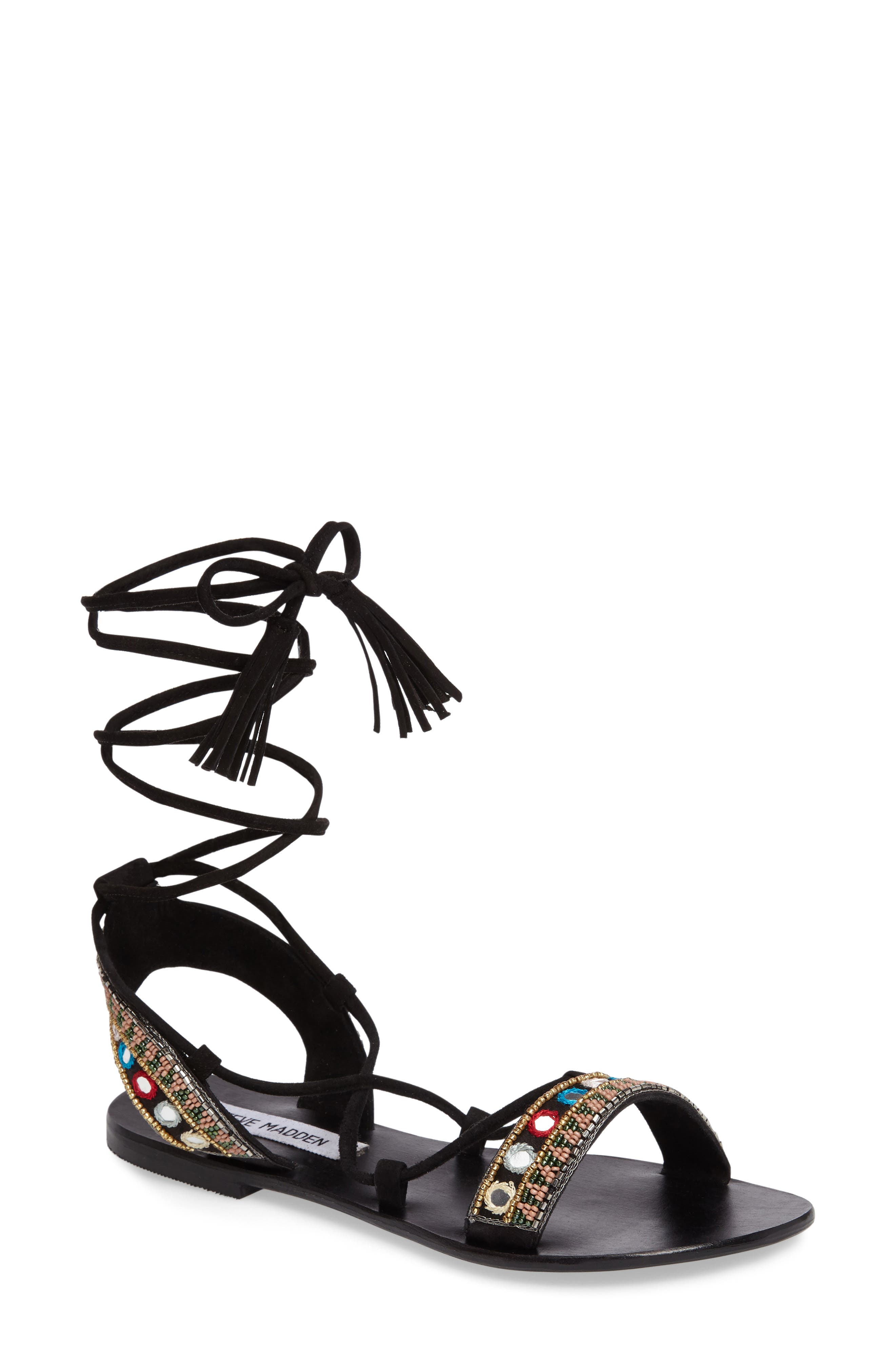 Alternate Image 1 Selected - Steve Madden Orva Embellished Ghillie Wrap Sandal (Women)