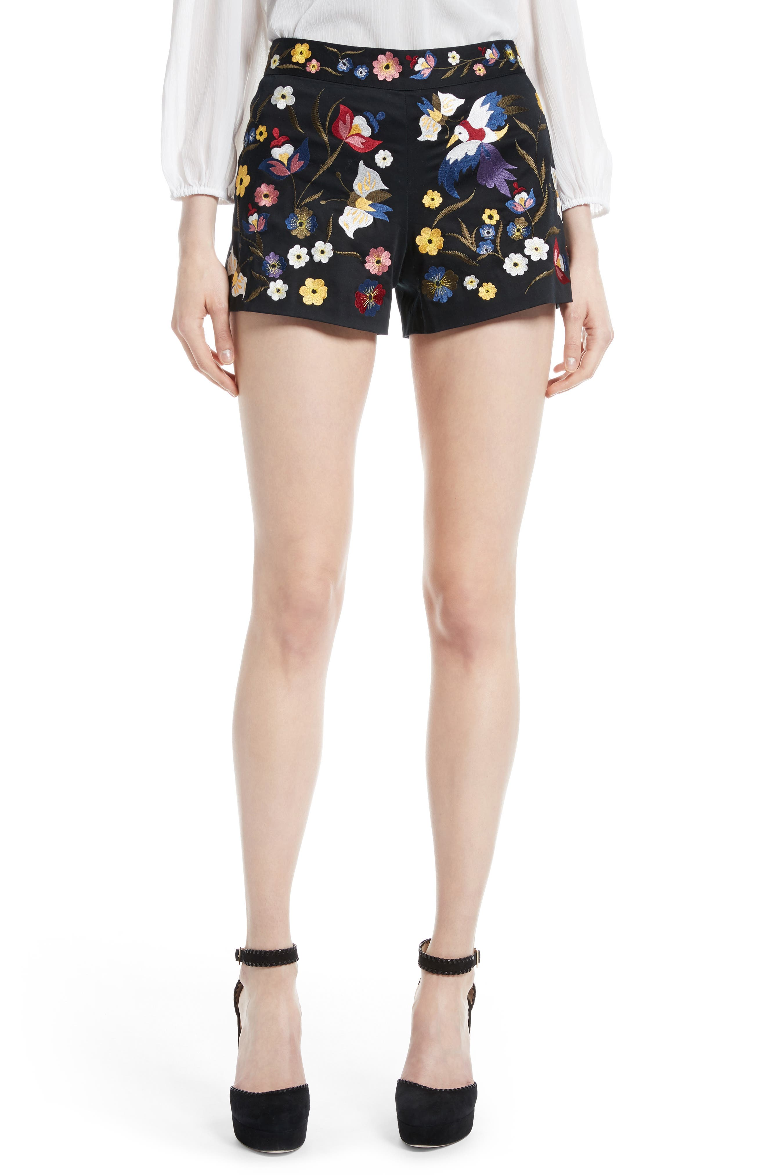 ALICE + OLIVIA Embroidered Shorts