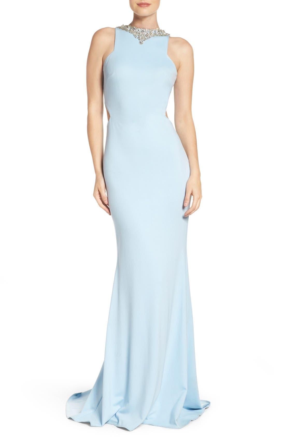 Alternate Image 1 Selected - Mac Duggal Jewel Jersey Gown