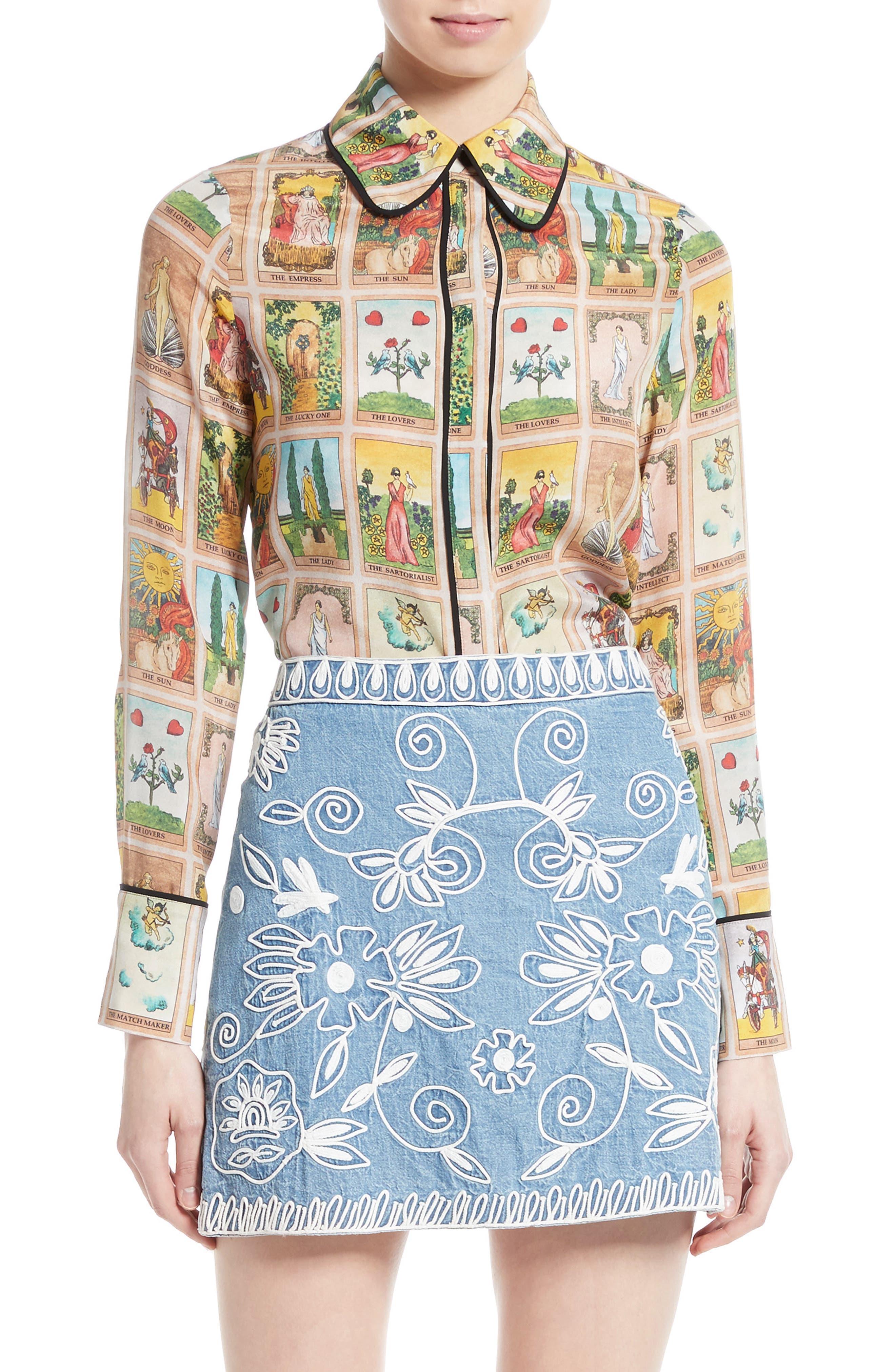 Main Image - Alice + Olivia Alfie Print Silk Peter Pan Collar Blouse