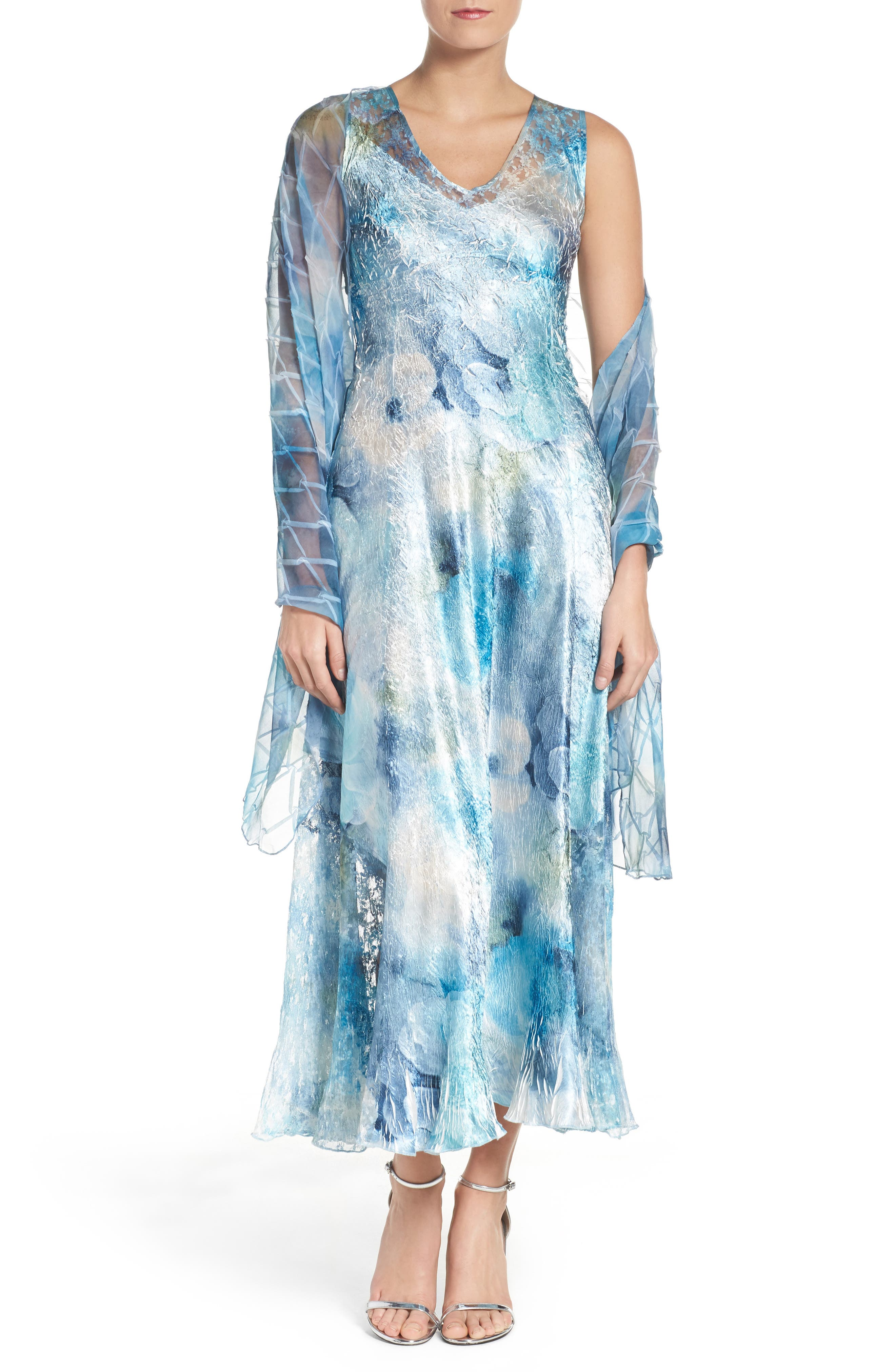 KOMAROV A-Line Chiffon Dress & Shawl