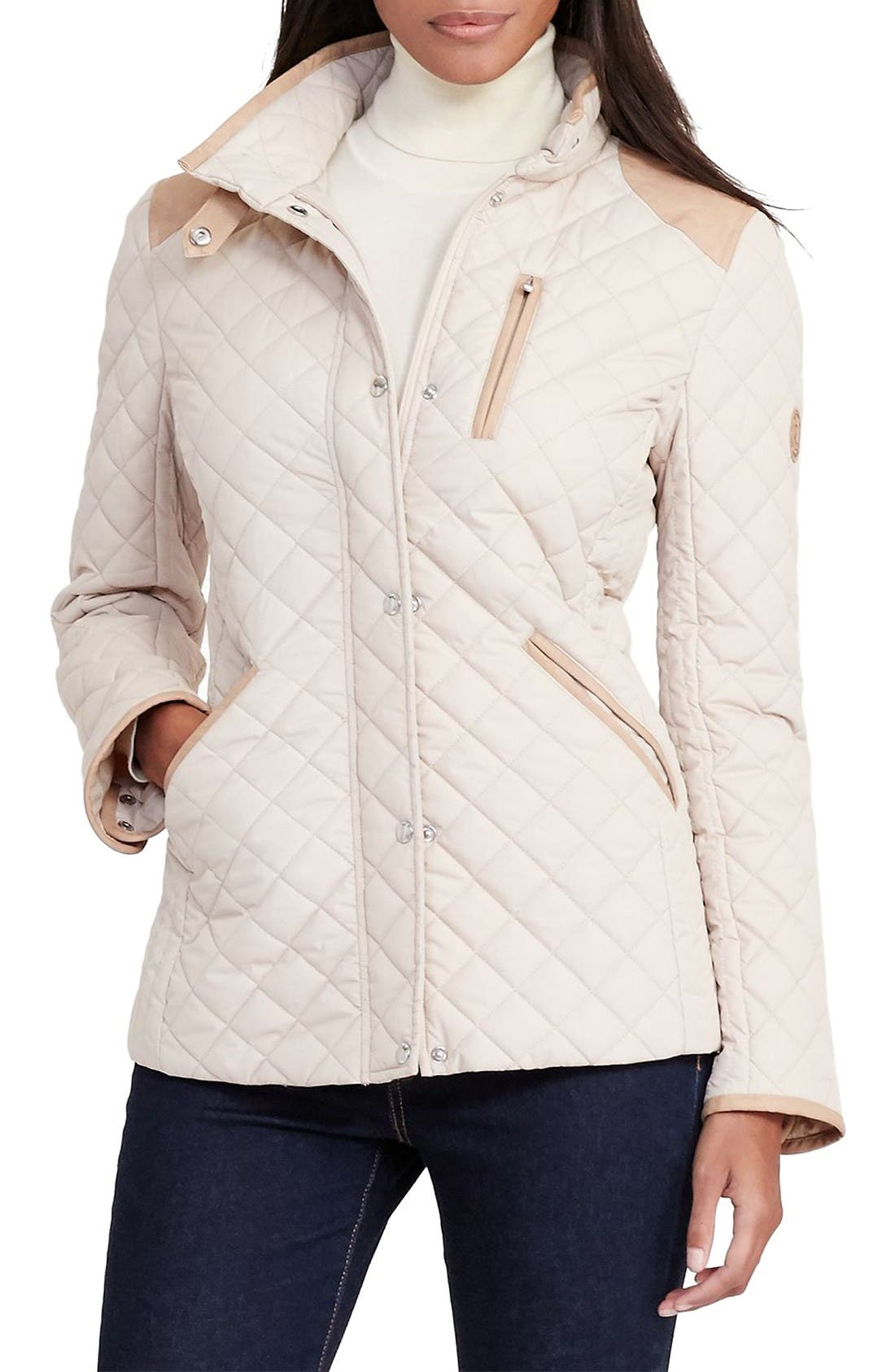 LAUREN RALPH LAUREN Faux Leather Trim Quilted Jacket