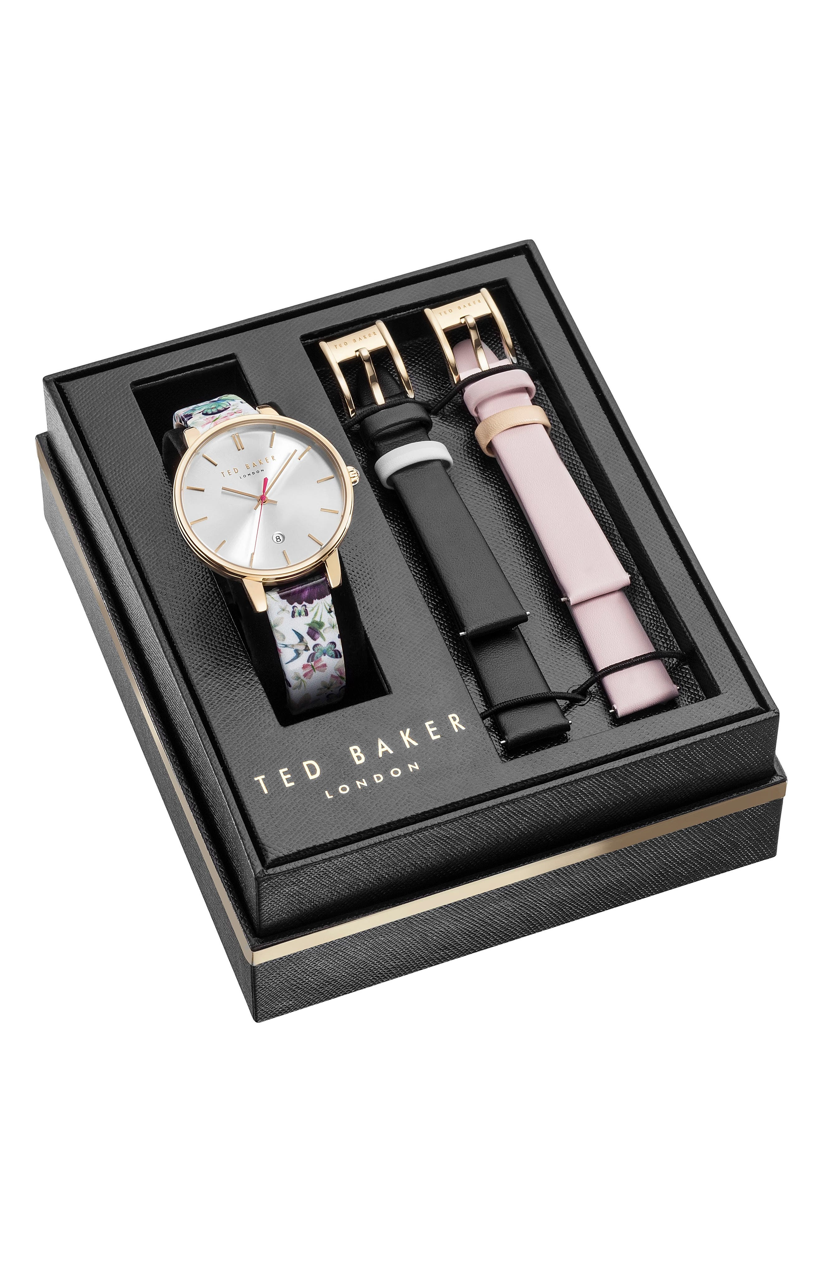 Ted Baker London Kate Leather Strap Watch Set, 38mm