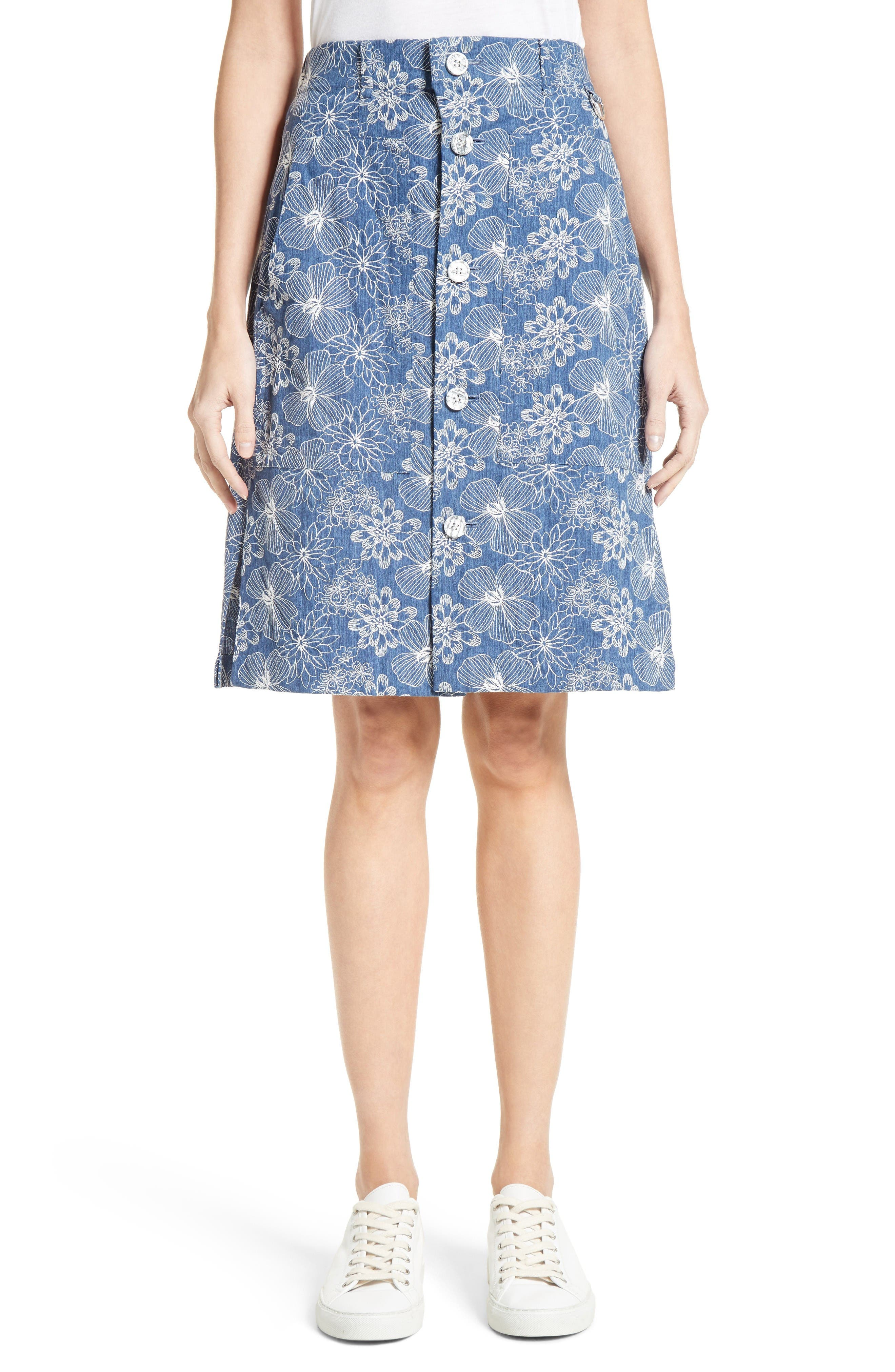 Main Image - Julien David Floral Embroidered Cotton Skirt