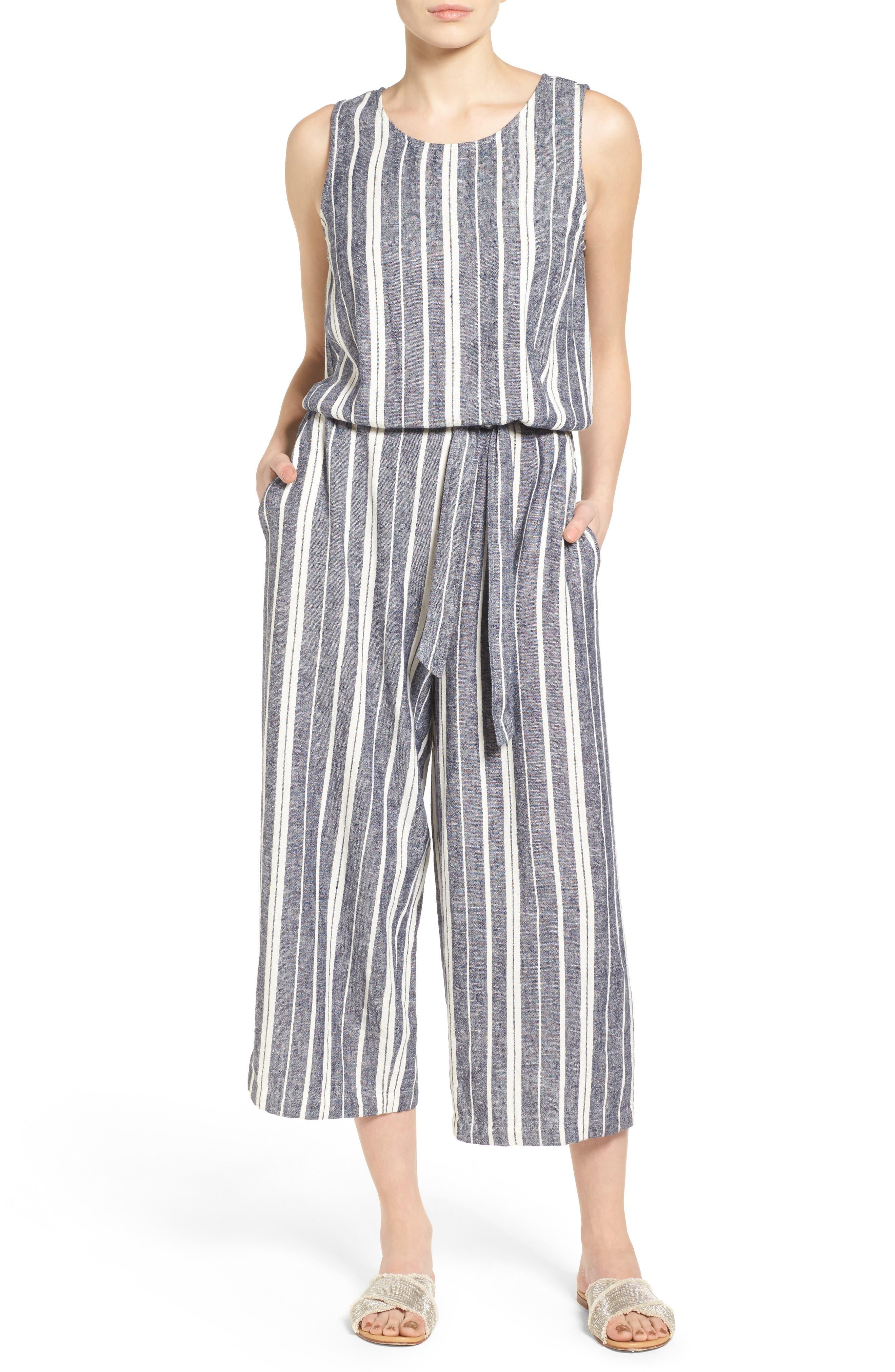 Two by Vince Camuto Stripe Linen Blend Culotte Jumpsuit