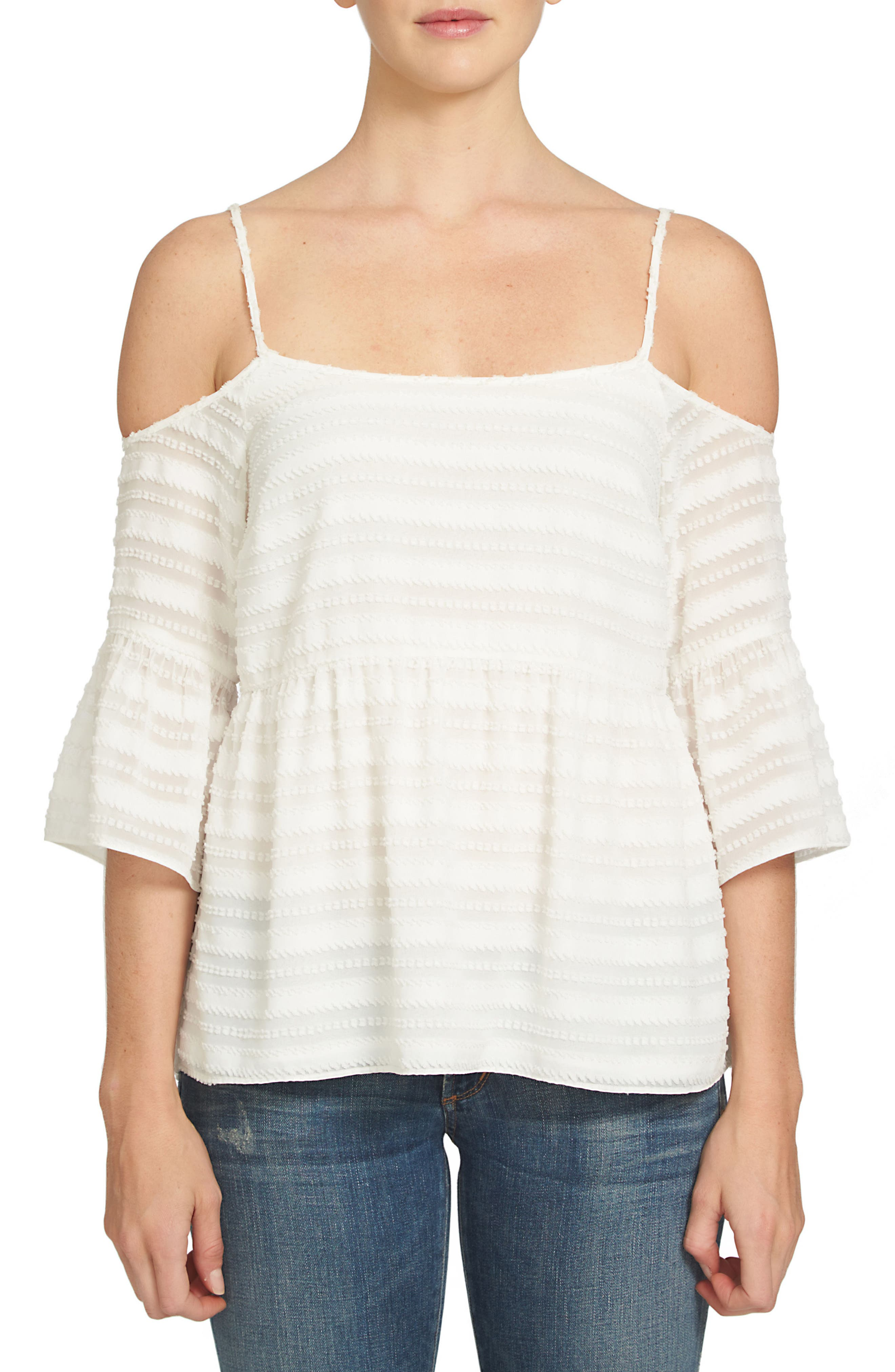 1.STATE Cold Shoulder Ruffle Top