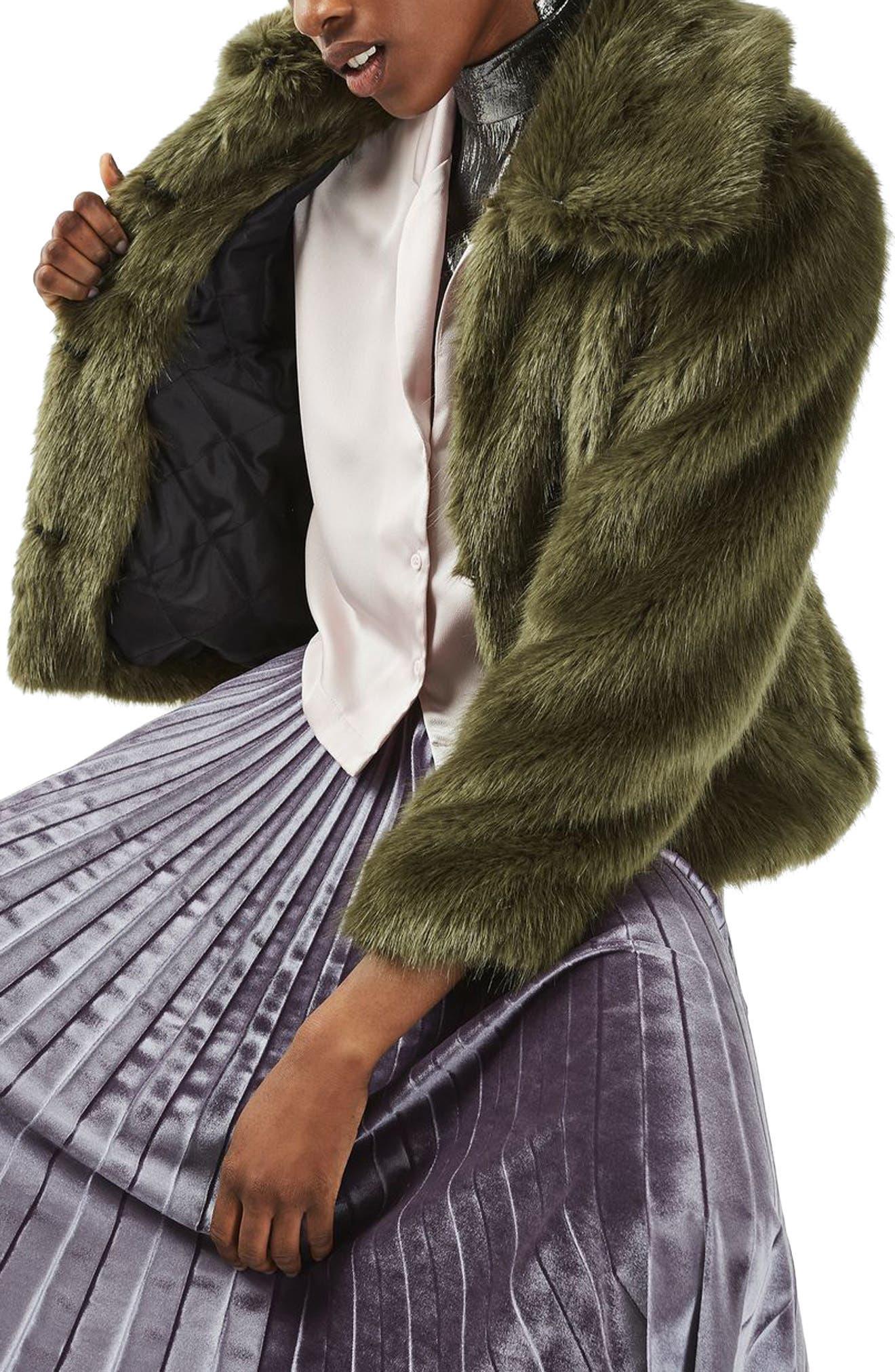 Alternate Image 1 Selected - Topshop Claire Faux Fur Coat