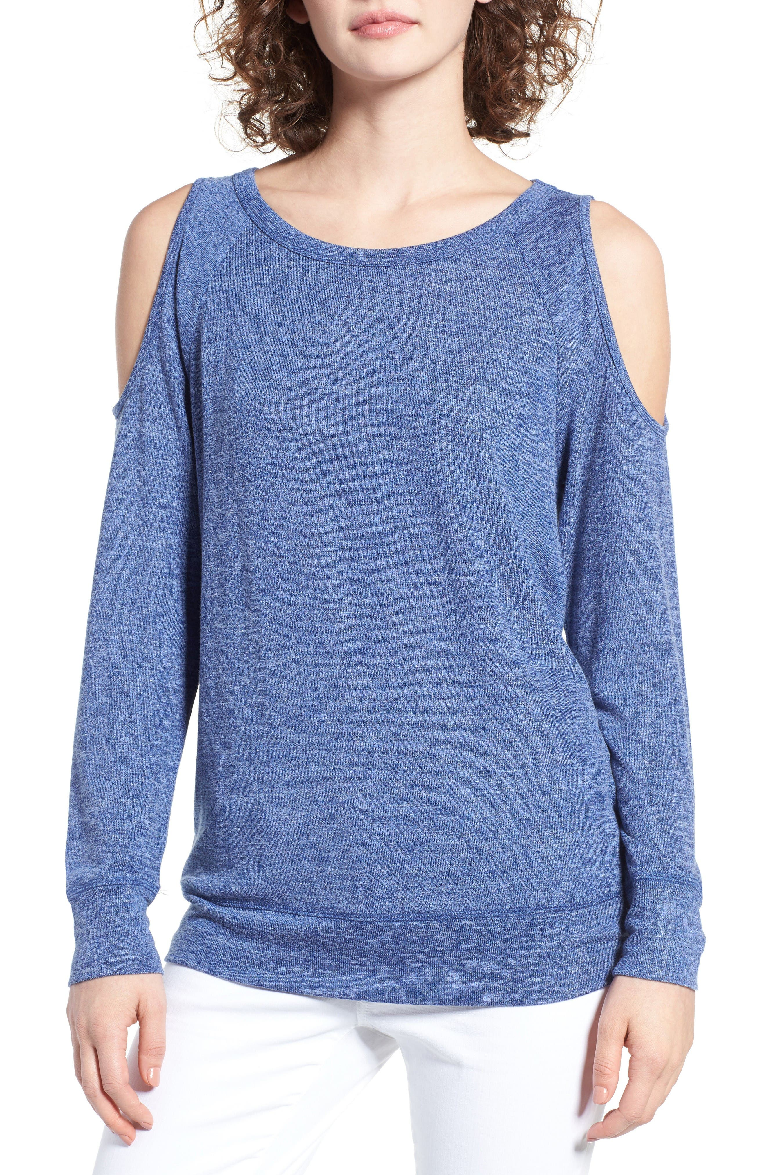 Main Image - BP. Cold Shoulder Sweatshirt