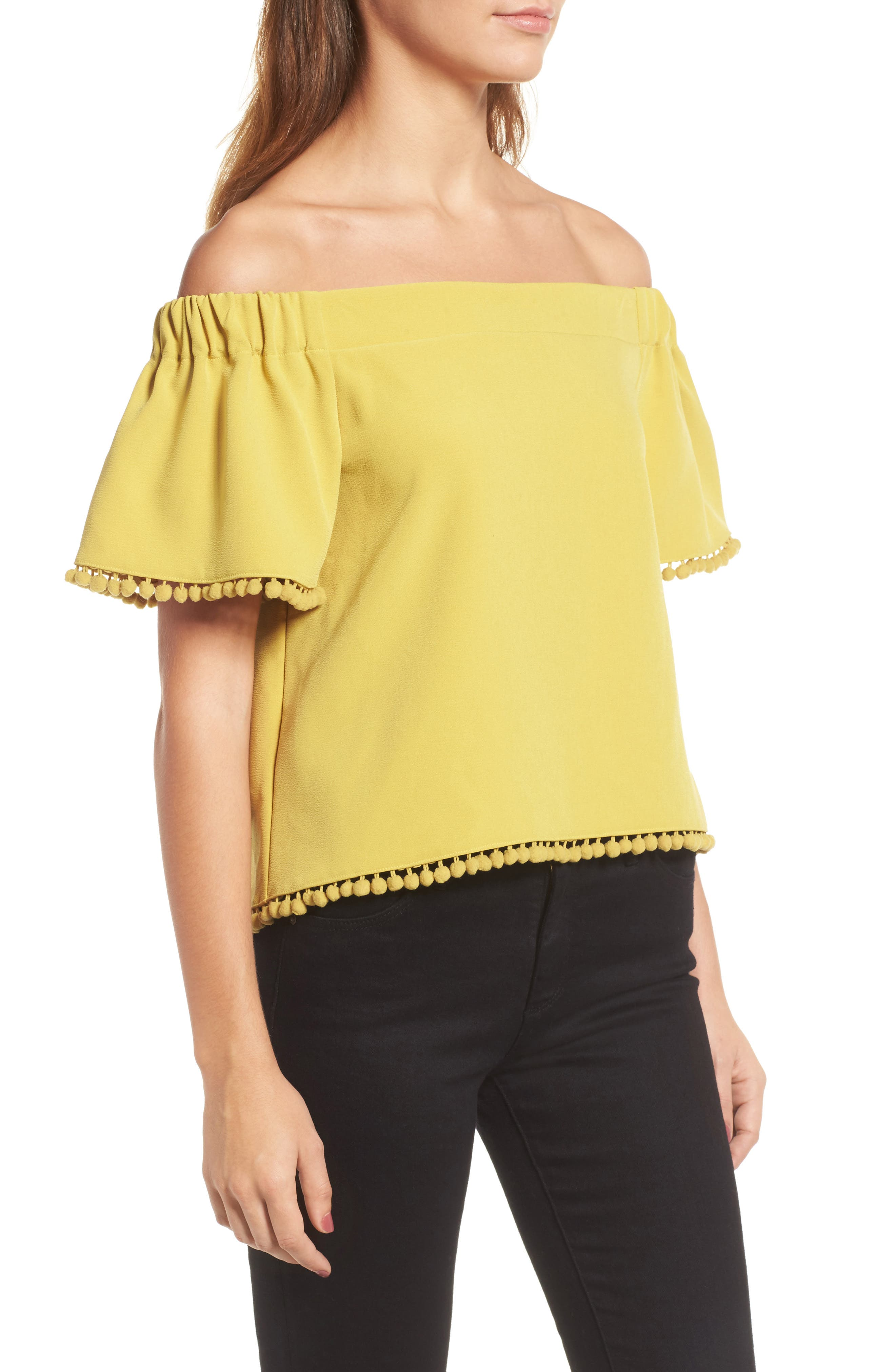 Alternate Image 4  - Willow & Clay Pompom Off the Shoulder Top