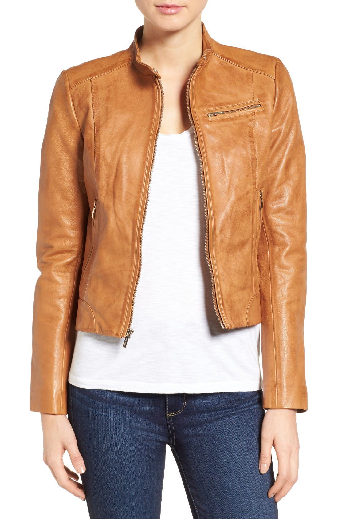 Cole Haan Band Collar Leather Racer Jacket