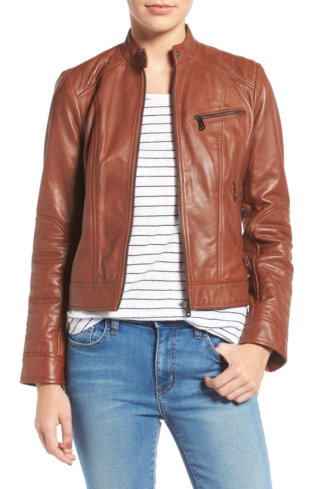 Alternate Image 1 Selected - Bernardo Quilted Leather Moto Jacket (Regular & Petite)