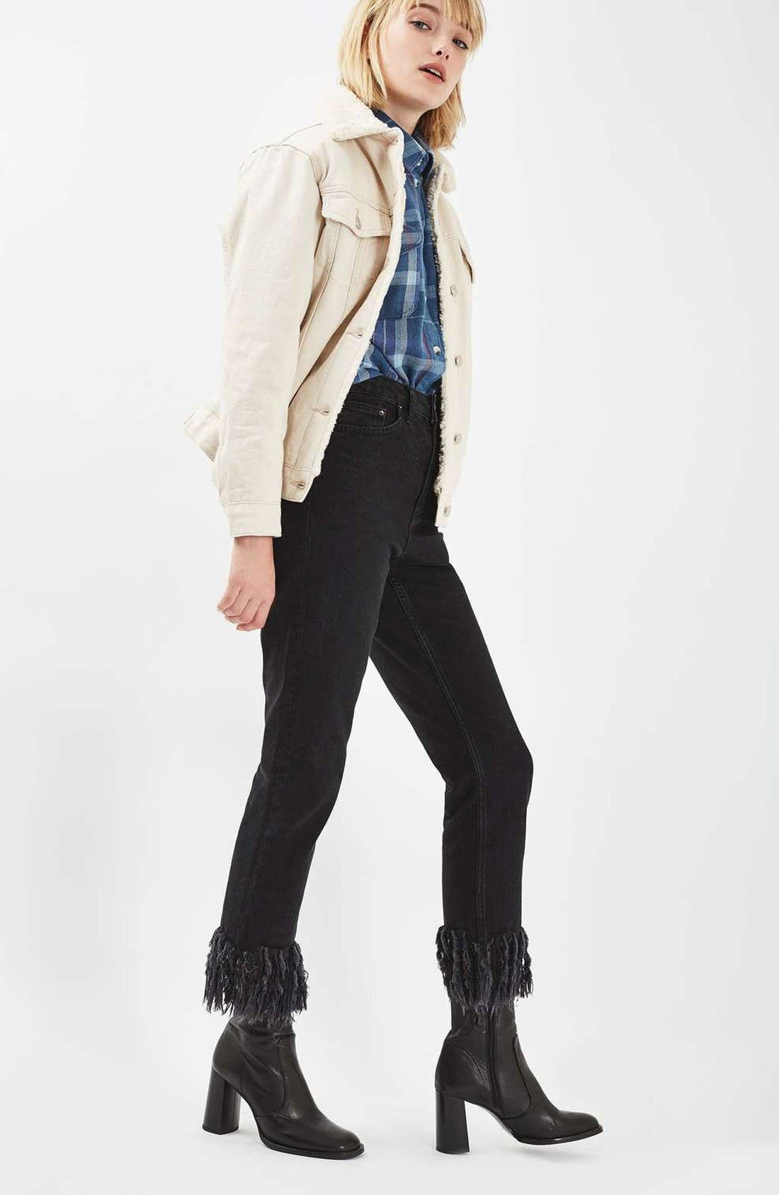Alternate Image 2  - Topshop Borg Western Denim Jacket