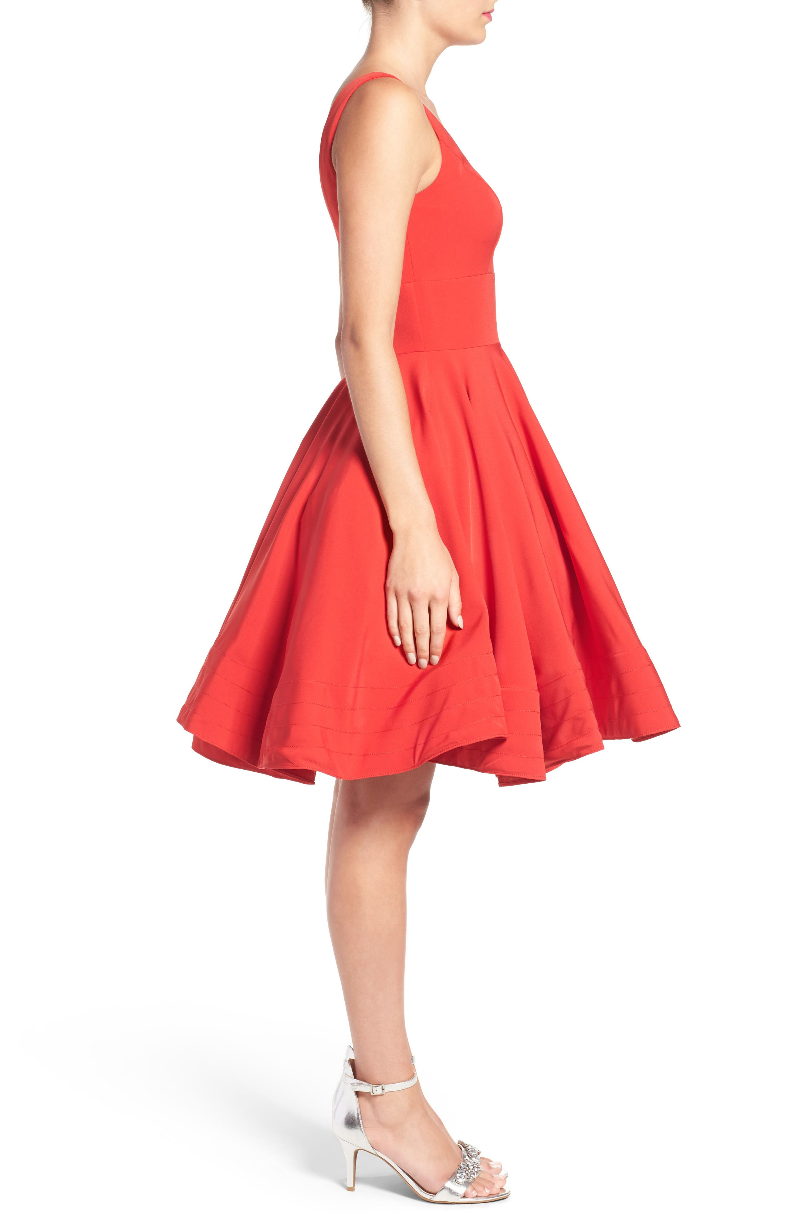 Alternate Image 3  - Ieena for Mac Duggal Double V-Neck Fit & Flare Party Dress