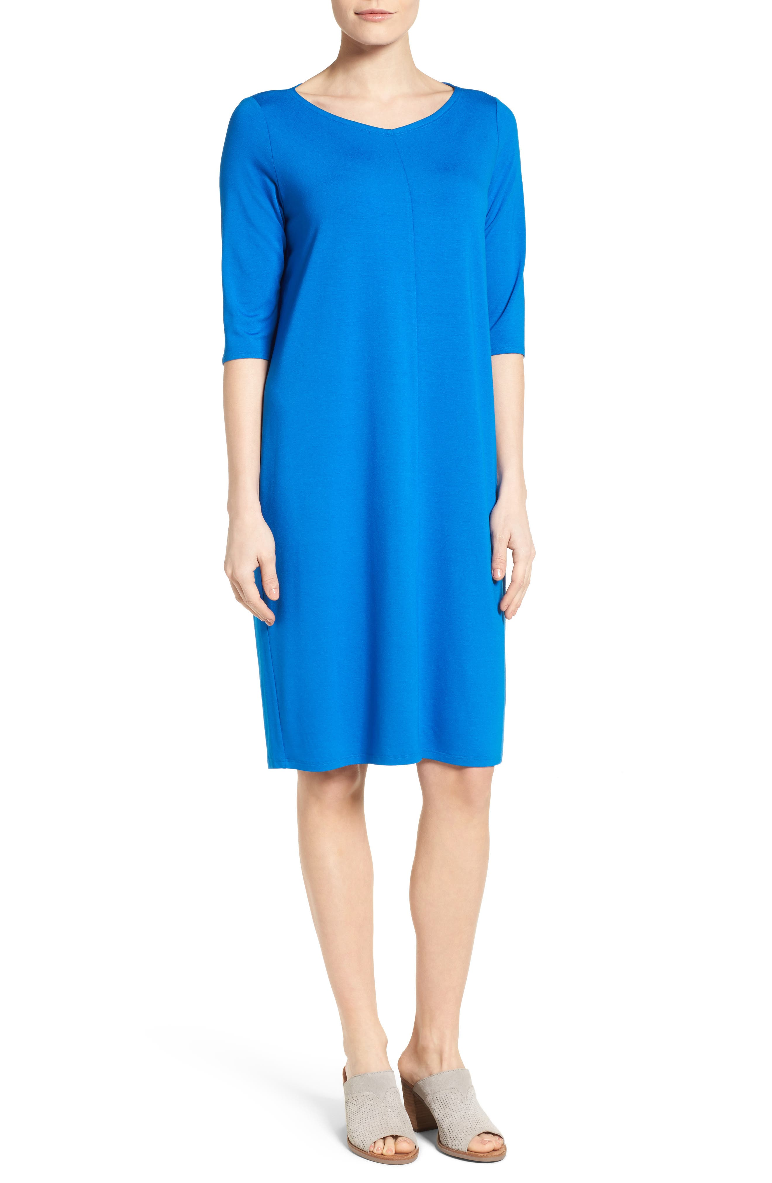 Main Image - Eileen Fisher V-Neck Jersey Shift Dress (Regular & Petite)