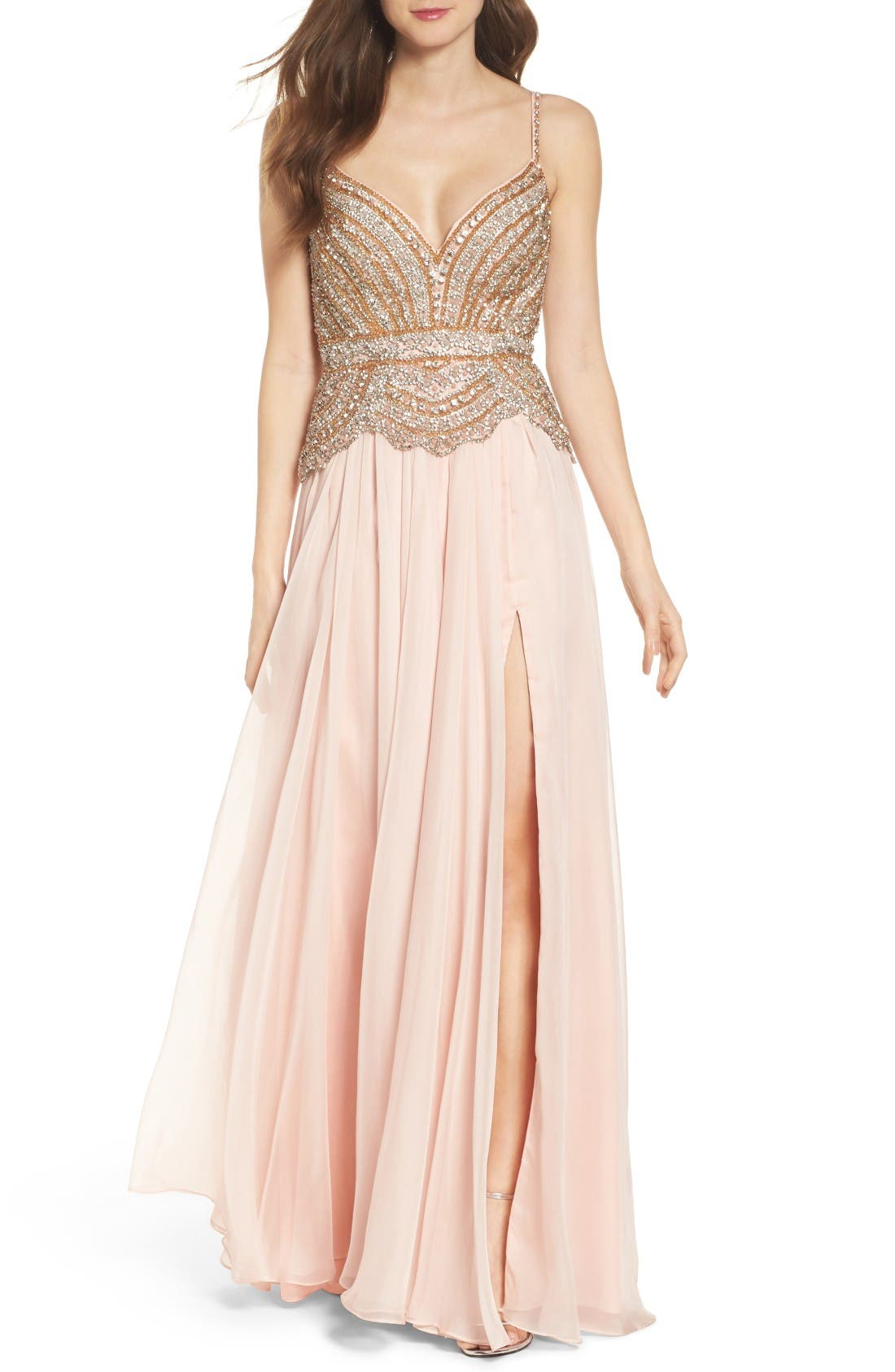 Alternate Image 1 Selected - Mac Duggal Rhinstone Bodice A-Line Chiffon Gown