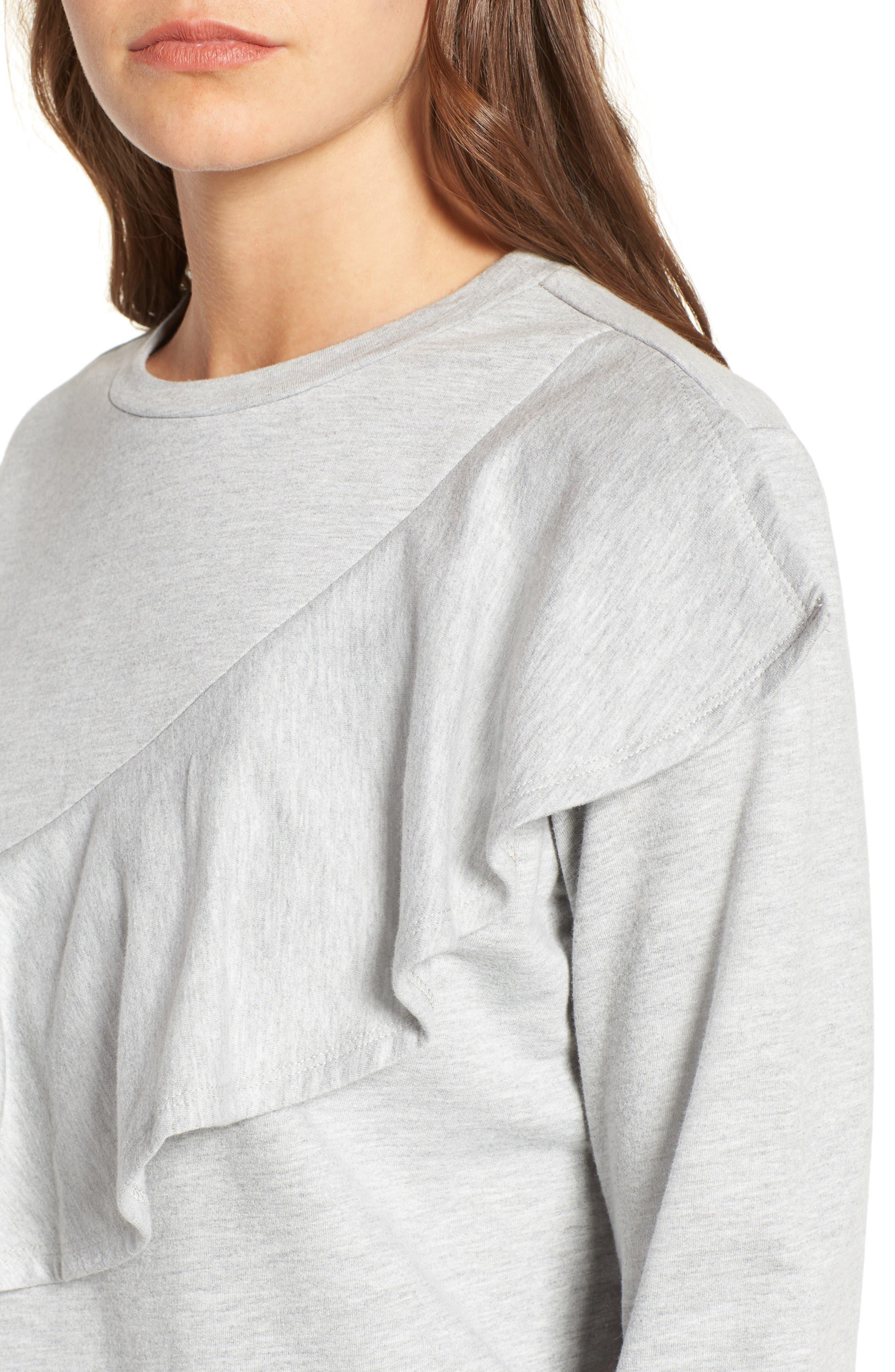 Alternate Image 4  - Love, Fire Ruffle Front Sweatshirt