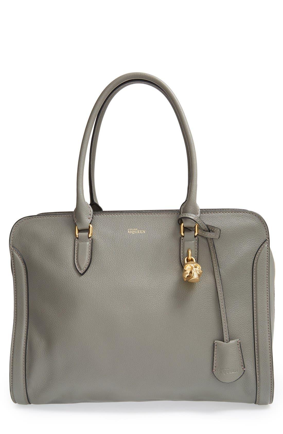 Alexander McQueen 'Padlock' Calfskin Leather Duffel Bag