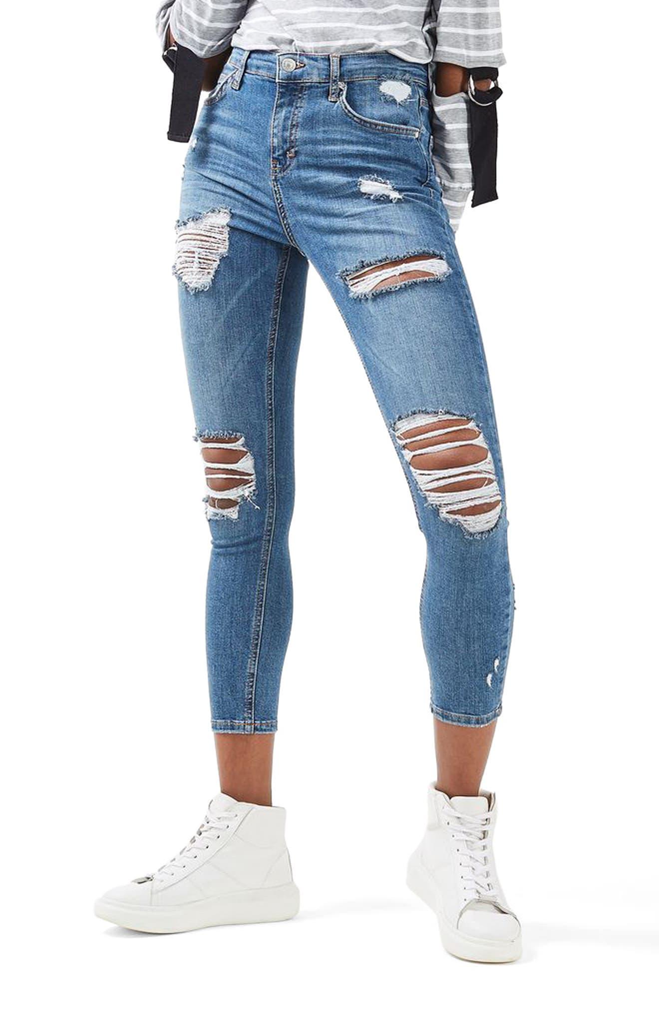 Main Image - Topshop Moto Jamie Super Rip Skinny Jeans (Petite)