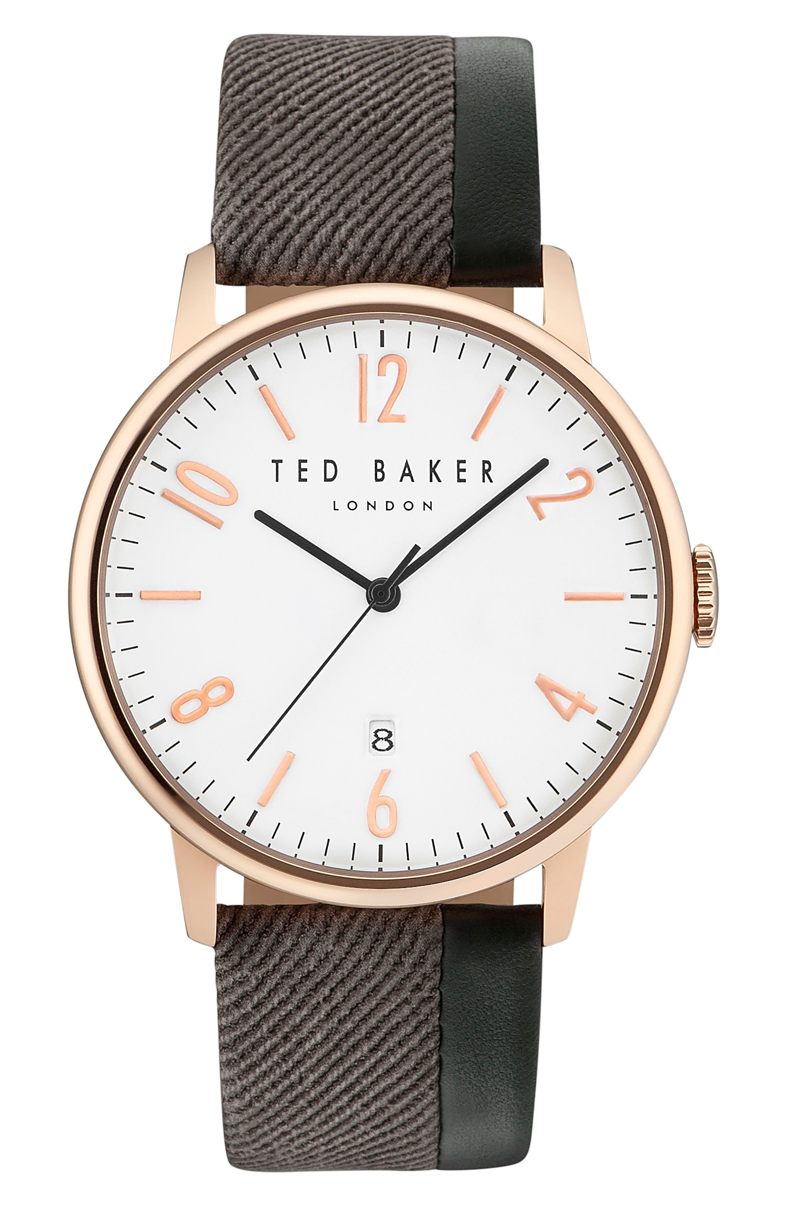 Ted Baker London Daniel Mixed Media Strap Watch, 42mm