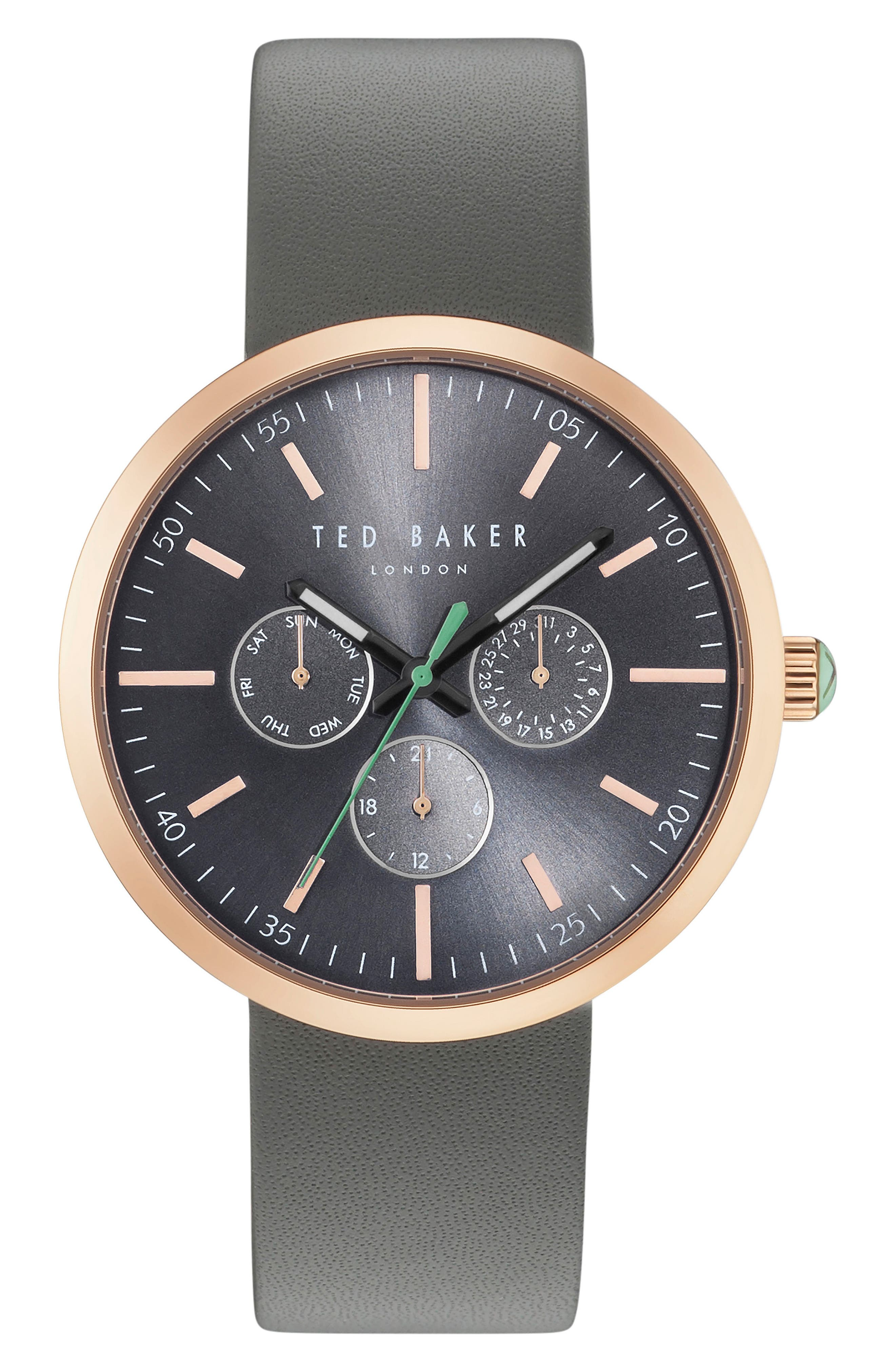 Ted Baker London Jack Multifunction Leather Strap Watch, 40mm