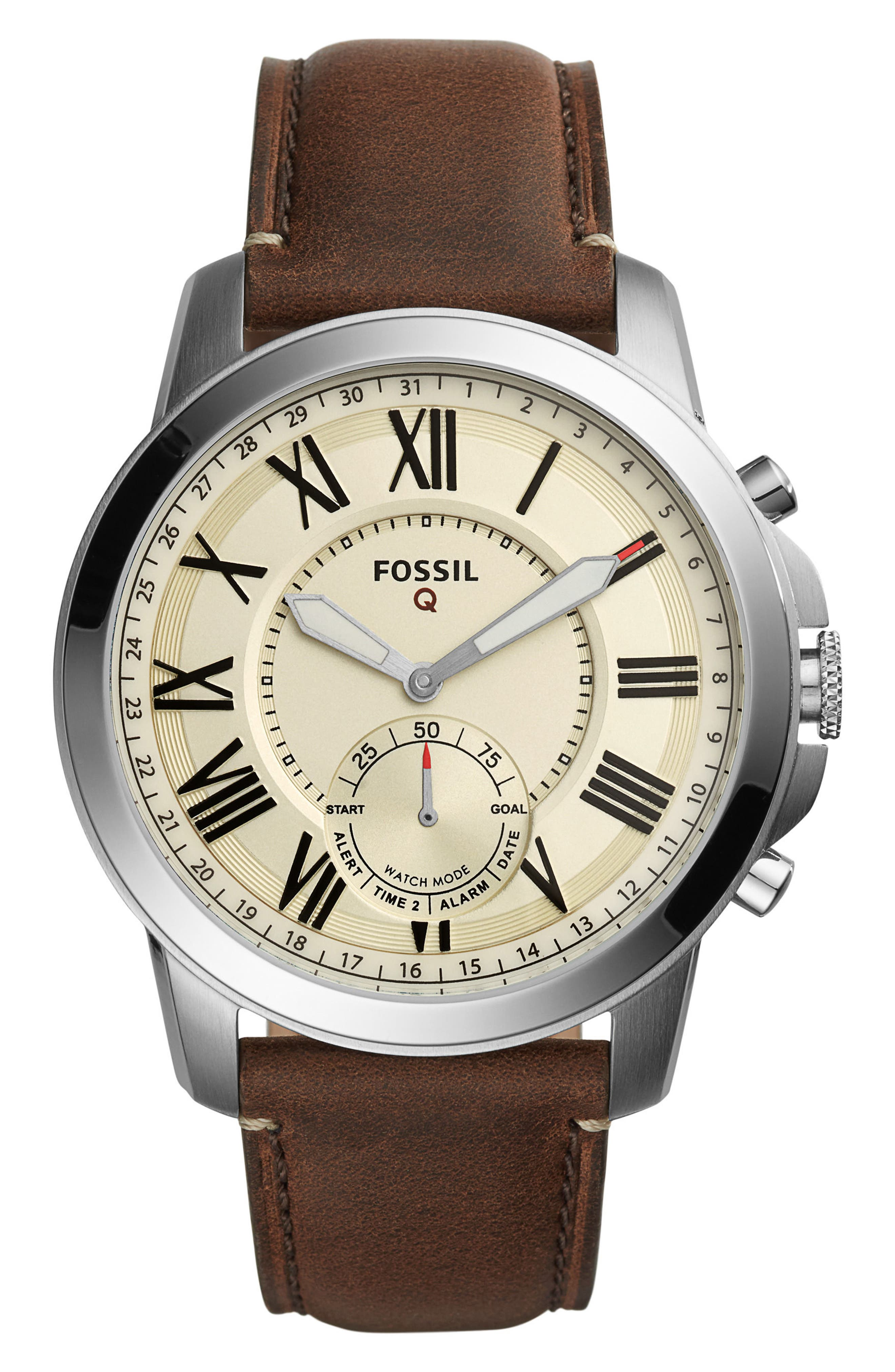 Fossil Q Grant Leather Strap Smart Watch, 44mm