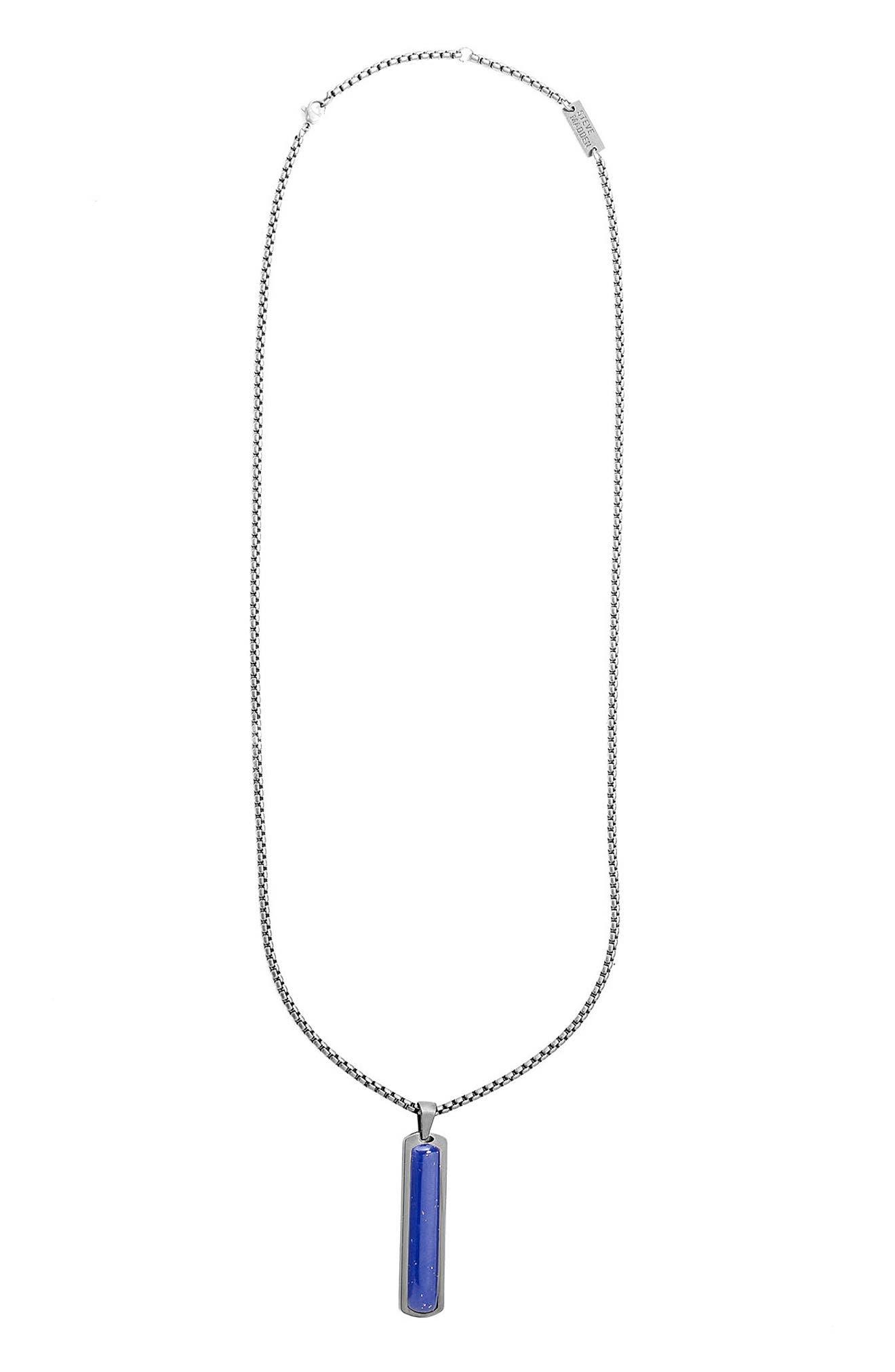 Steve Madden Oxidized Lapis Lazuli Pendant Necklace