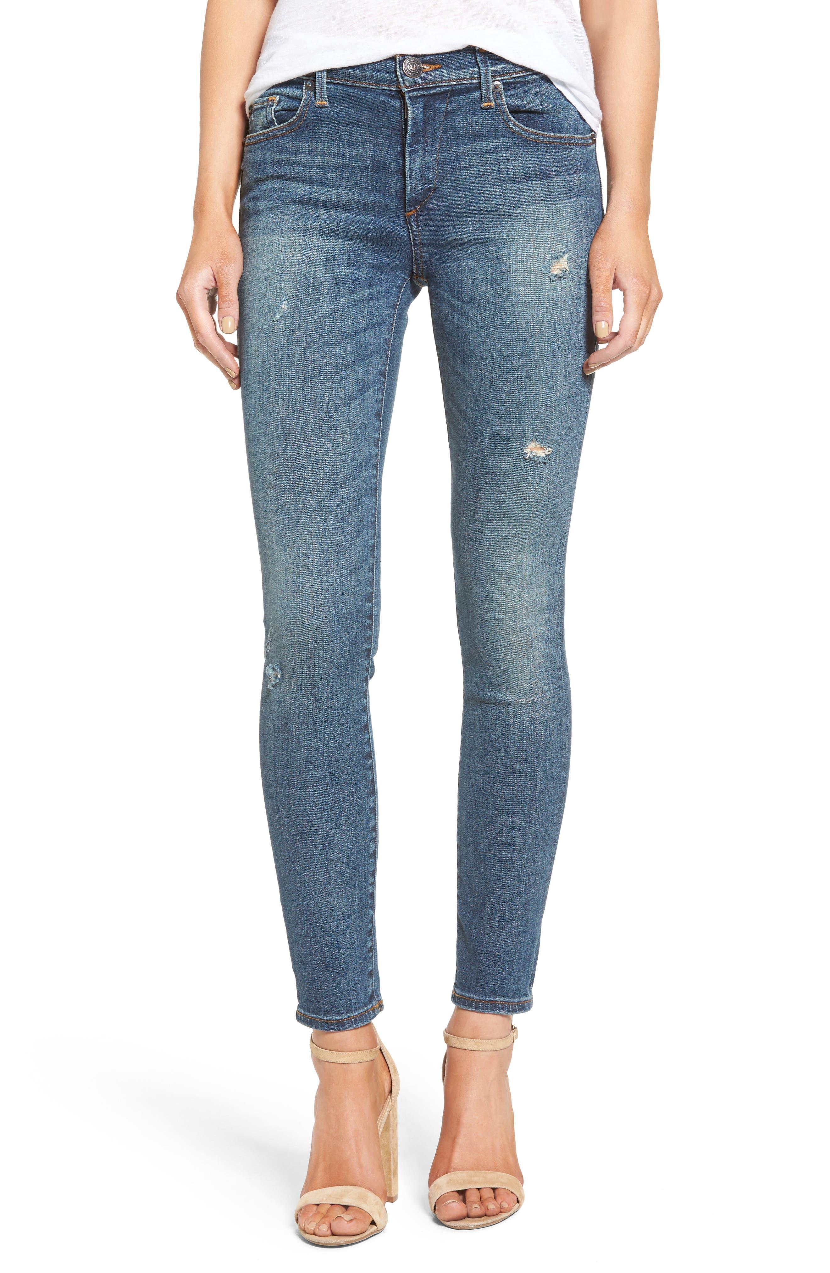 True Religion Brand Jeans Halle Mid Rise Super Skinny Jeans (True Haze)