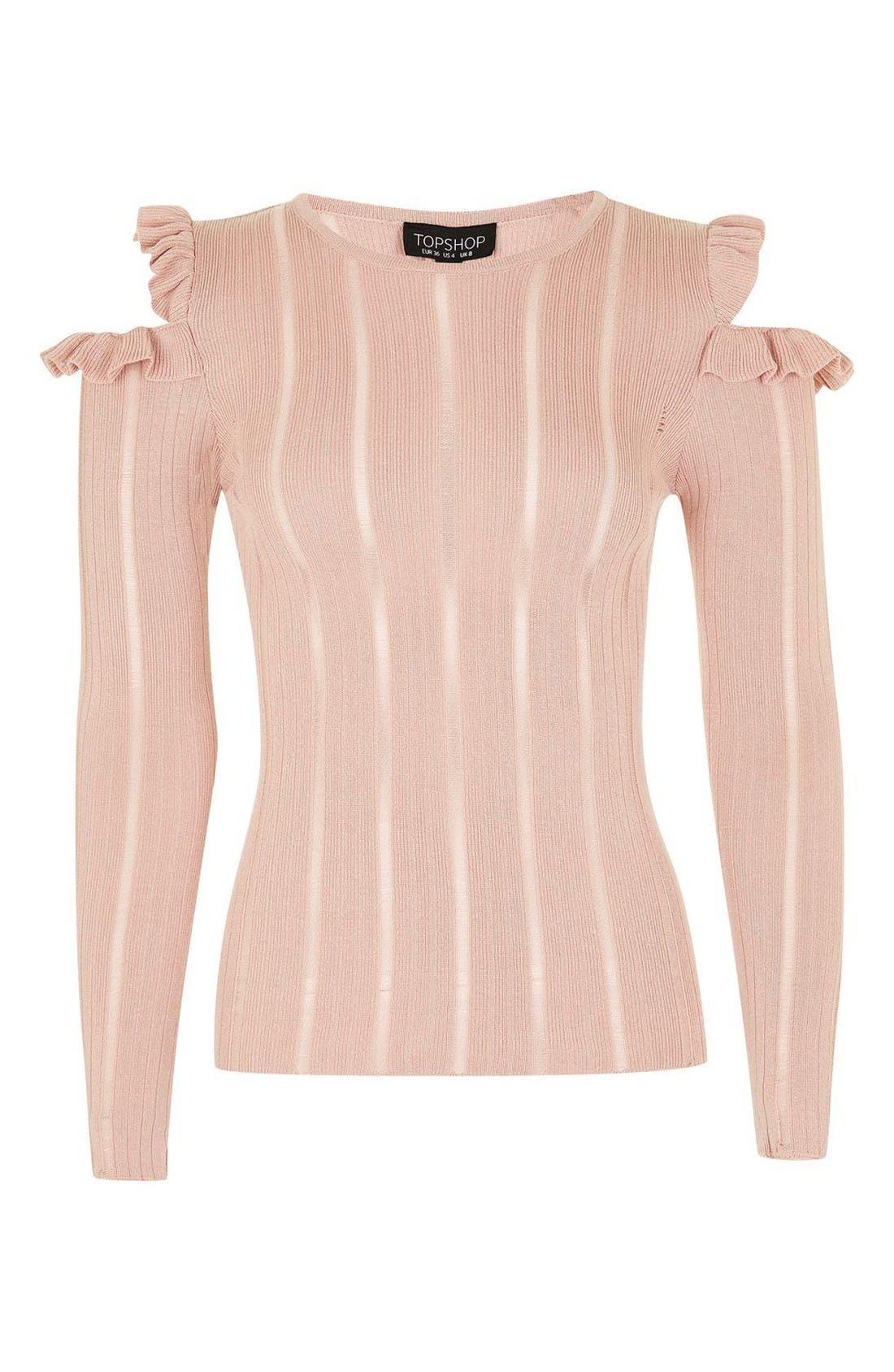 Alternate Image 4  - Topshop Ruffle Cold Shoulder Sweater