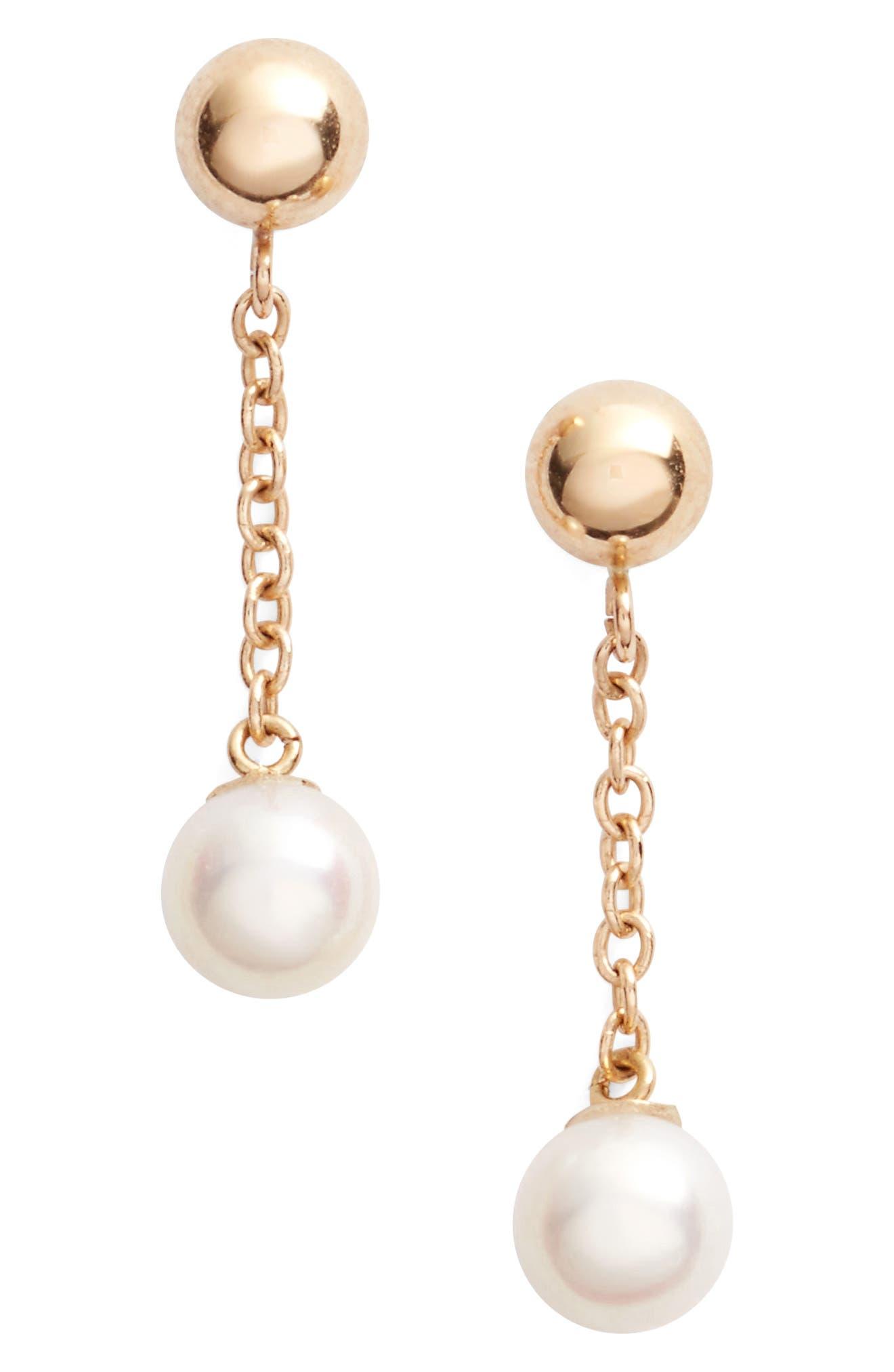 Poppy Finch Linear Drop Pearl Earrings