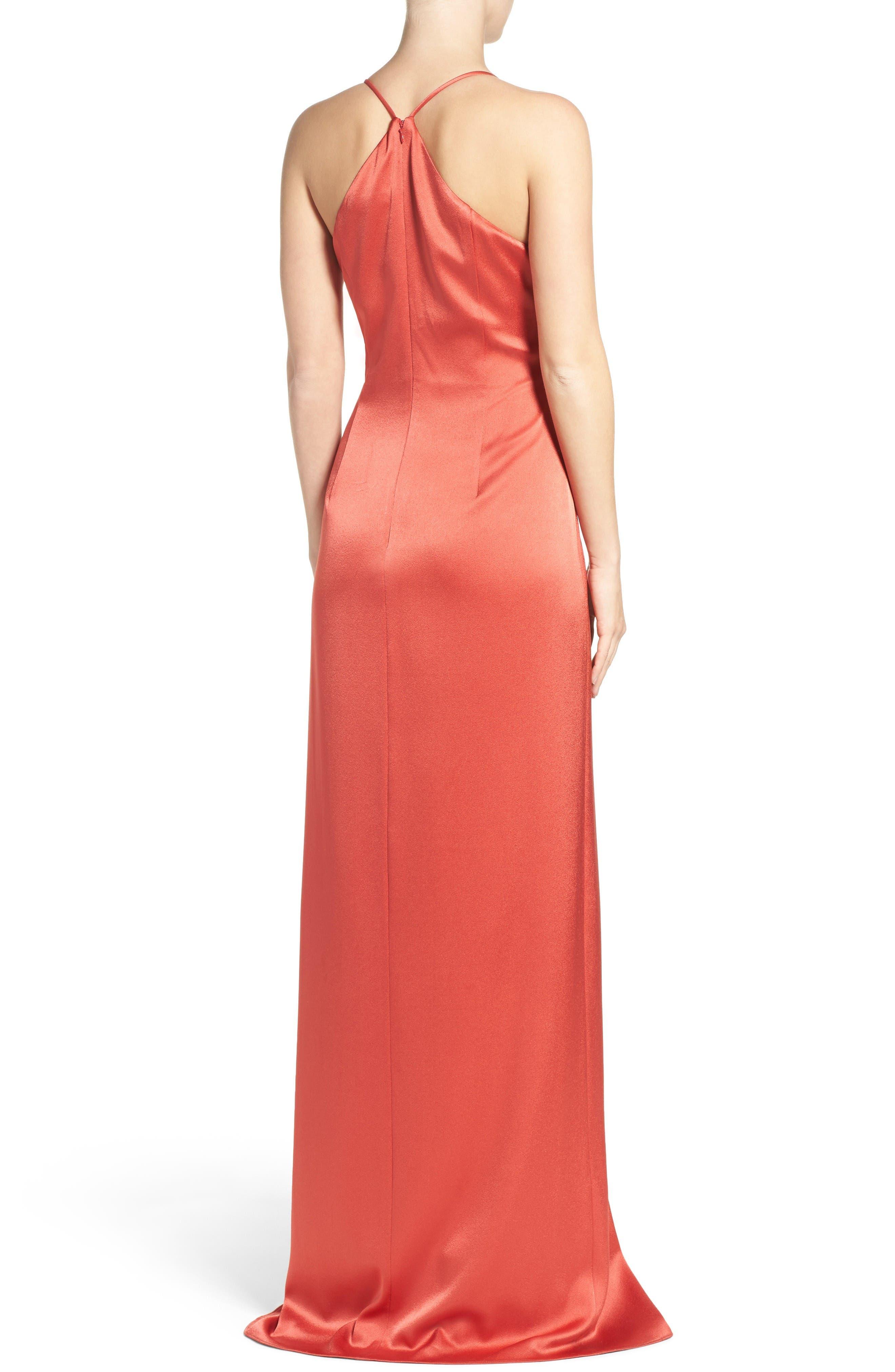 Alternate Image 2  - Halston Heritage Satin Gown