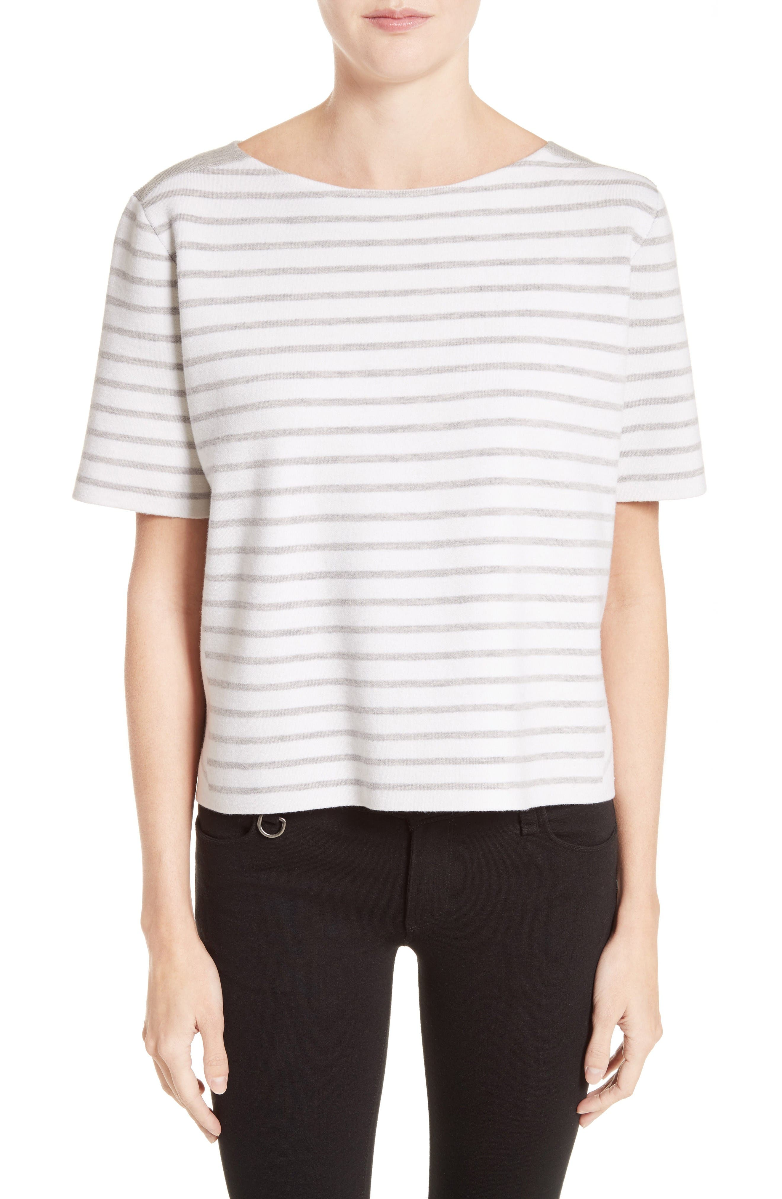BURBERRY River Piave Stripe Wool Blend Tee