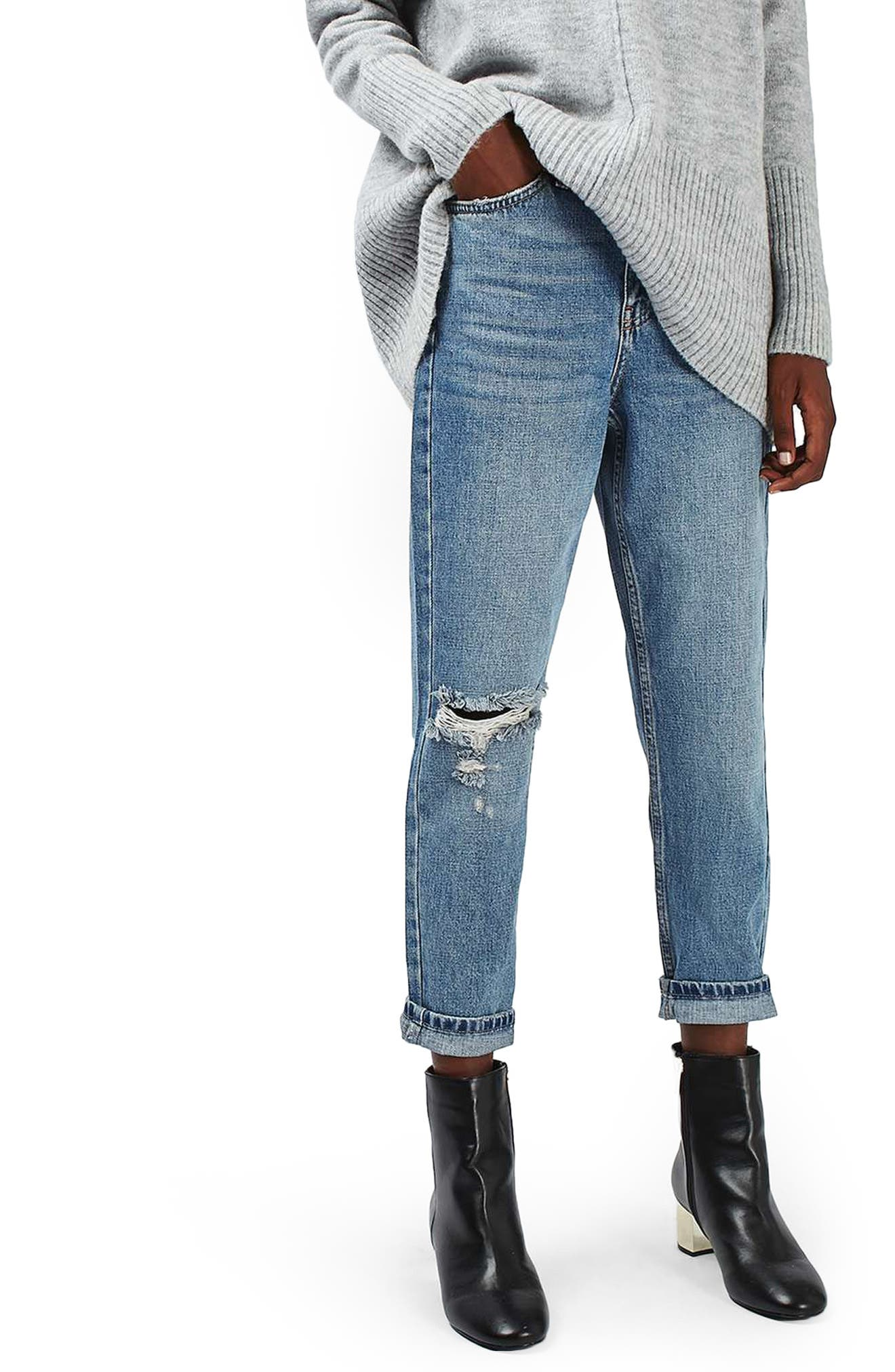 Main Image - Topshop Ripped Mom Jeans (Petite)