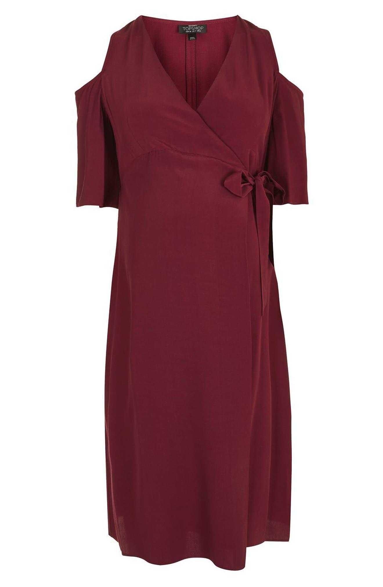 Alternate Image 6  - Topshop Cold Shoulder Wrap Maternity Dress