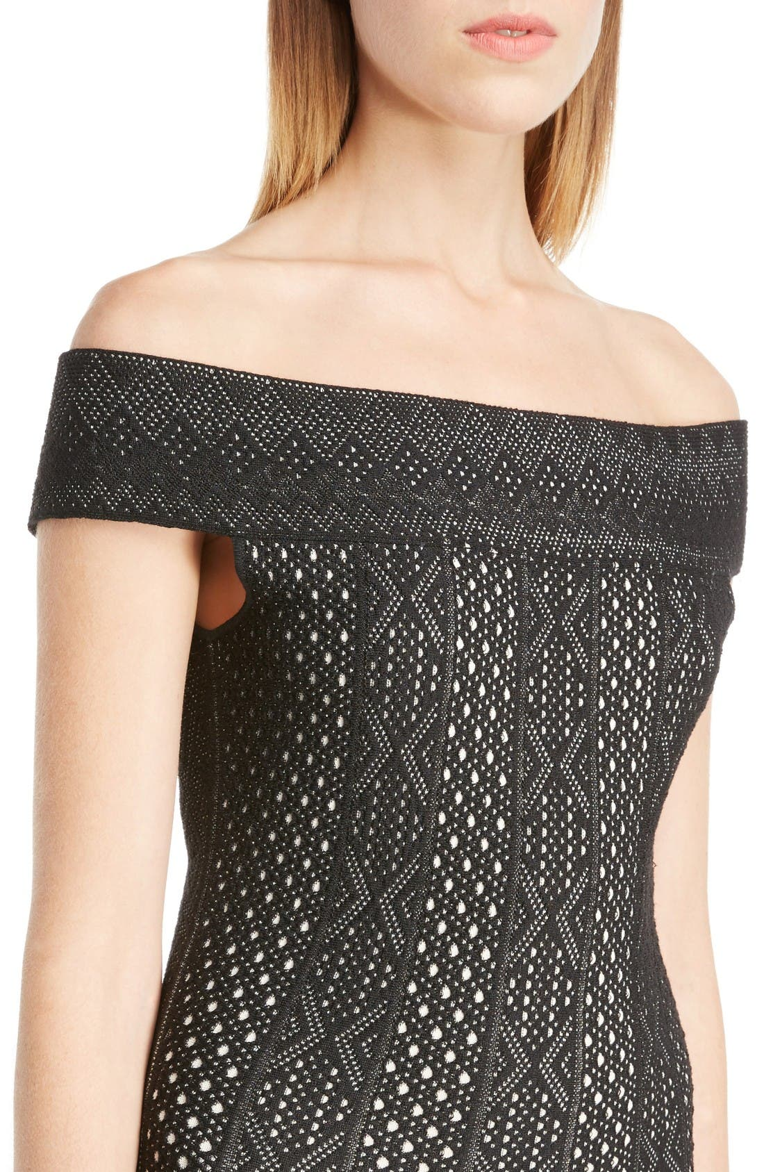 Alternate Image 5  - Alexander McQueen Off the Shoulder Bicolor Jacquard Dress