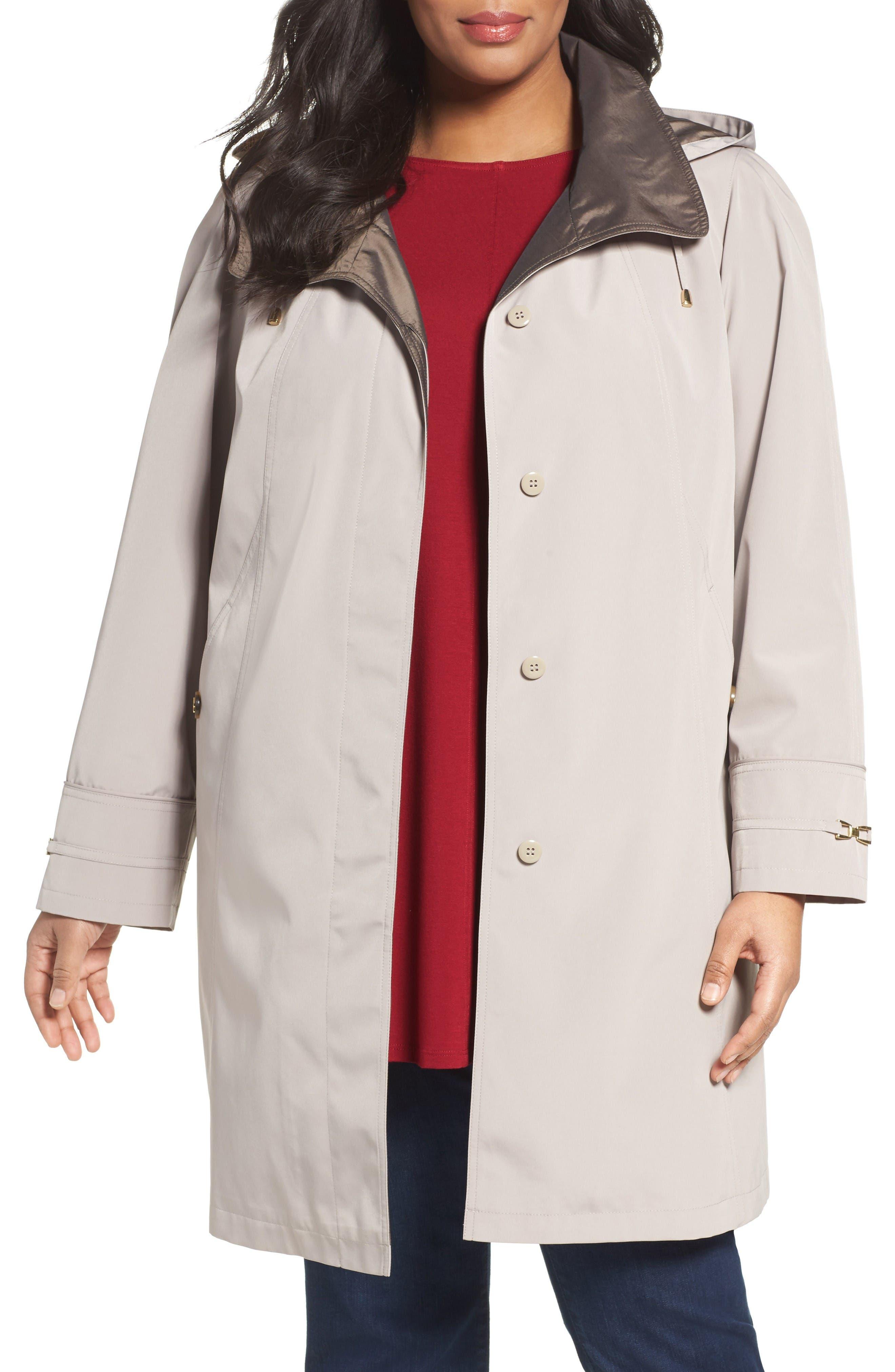 GALLERY Embossed Collar Raincoat with Detachable Hood