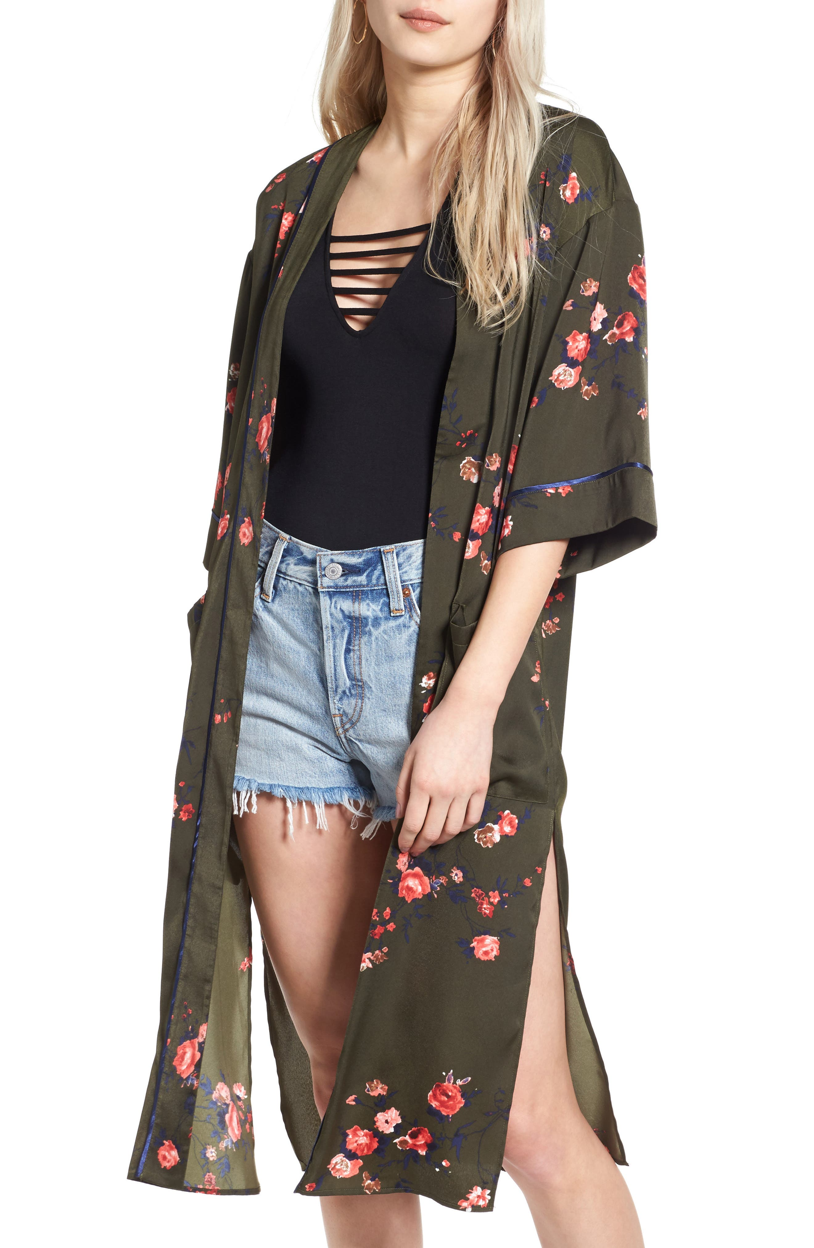 Alternate Image 1 Selected - Vigoss Floral Print Duster Kimono