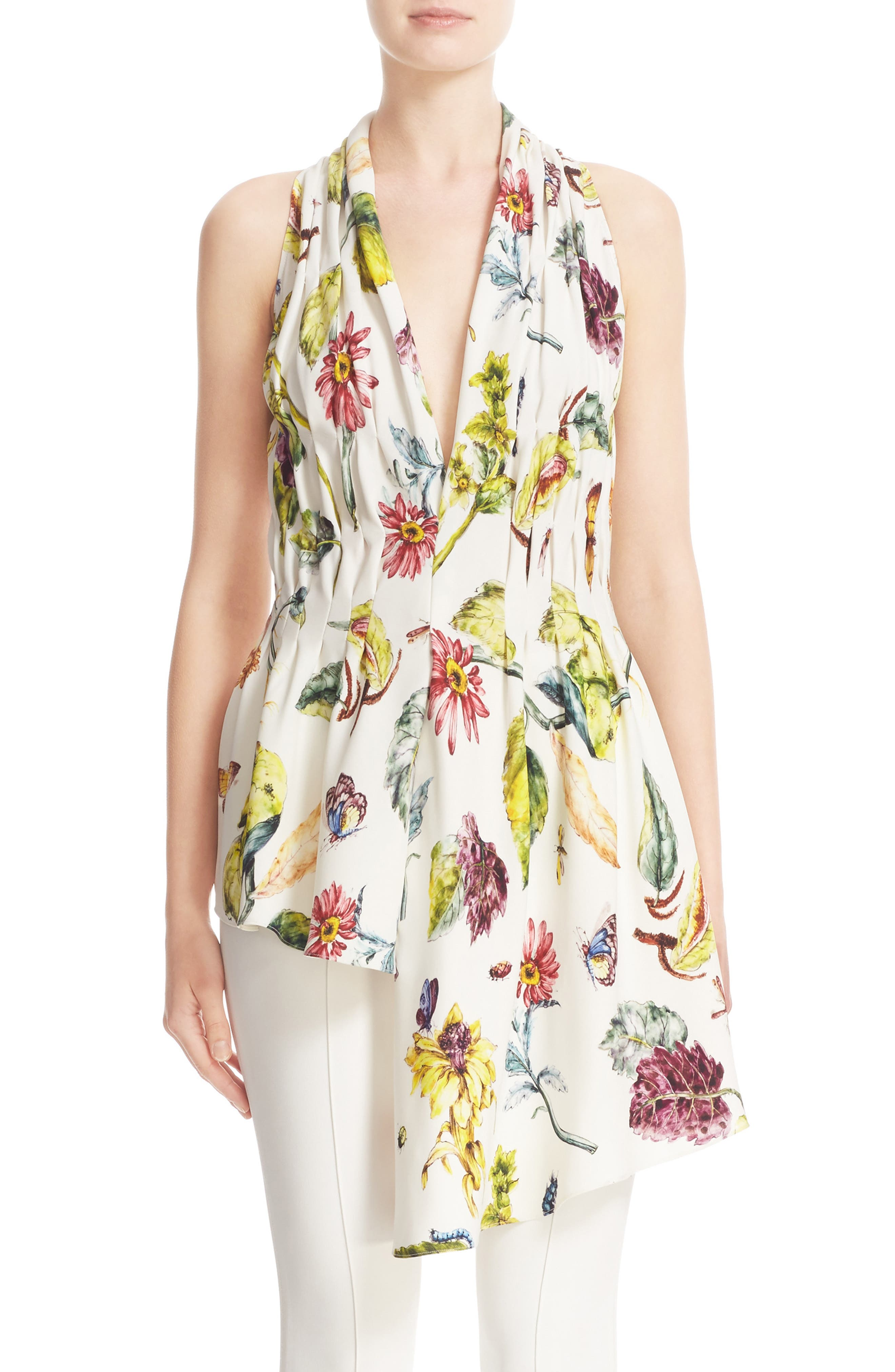 ADAM LIPPES Gathered Floral Print Top