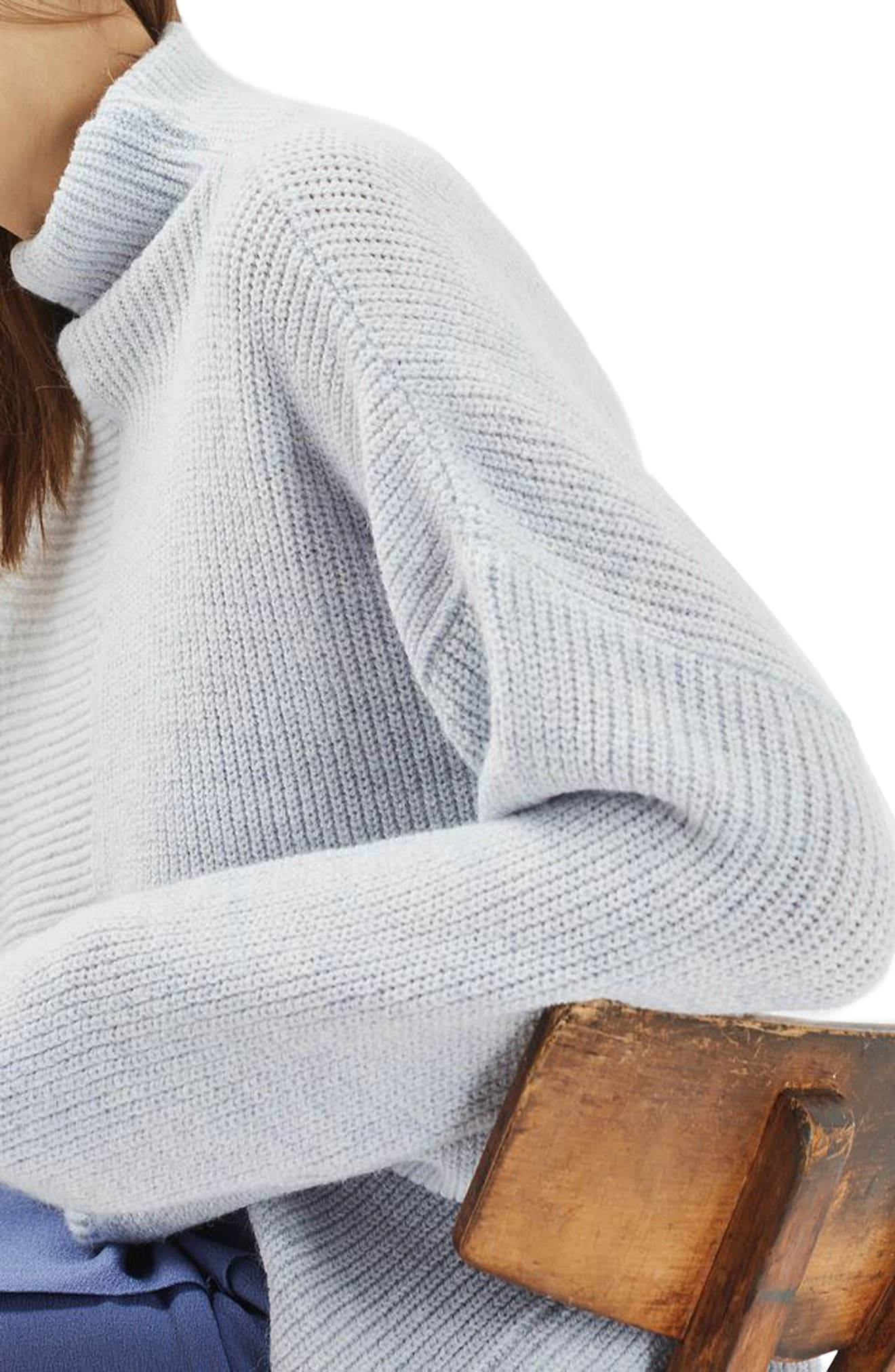 Alternate Image 5  - Topshop Mixed Rib Funnel Sweater