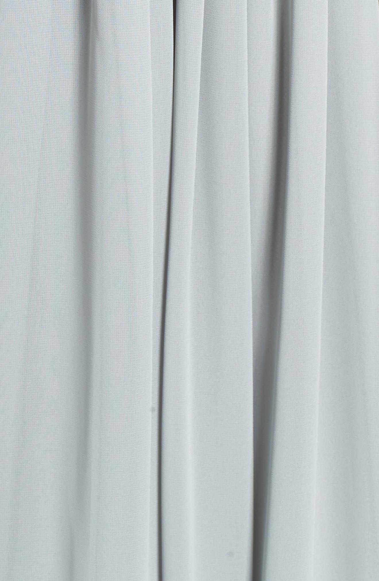 Alternate Image 5  - Monique Lhuillier Bridesmaids Deep V-Neck Ruffle Pleat Chiffon Gown