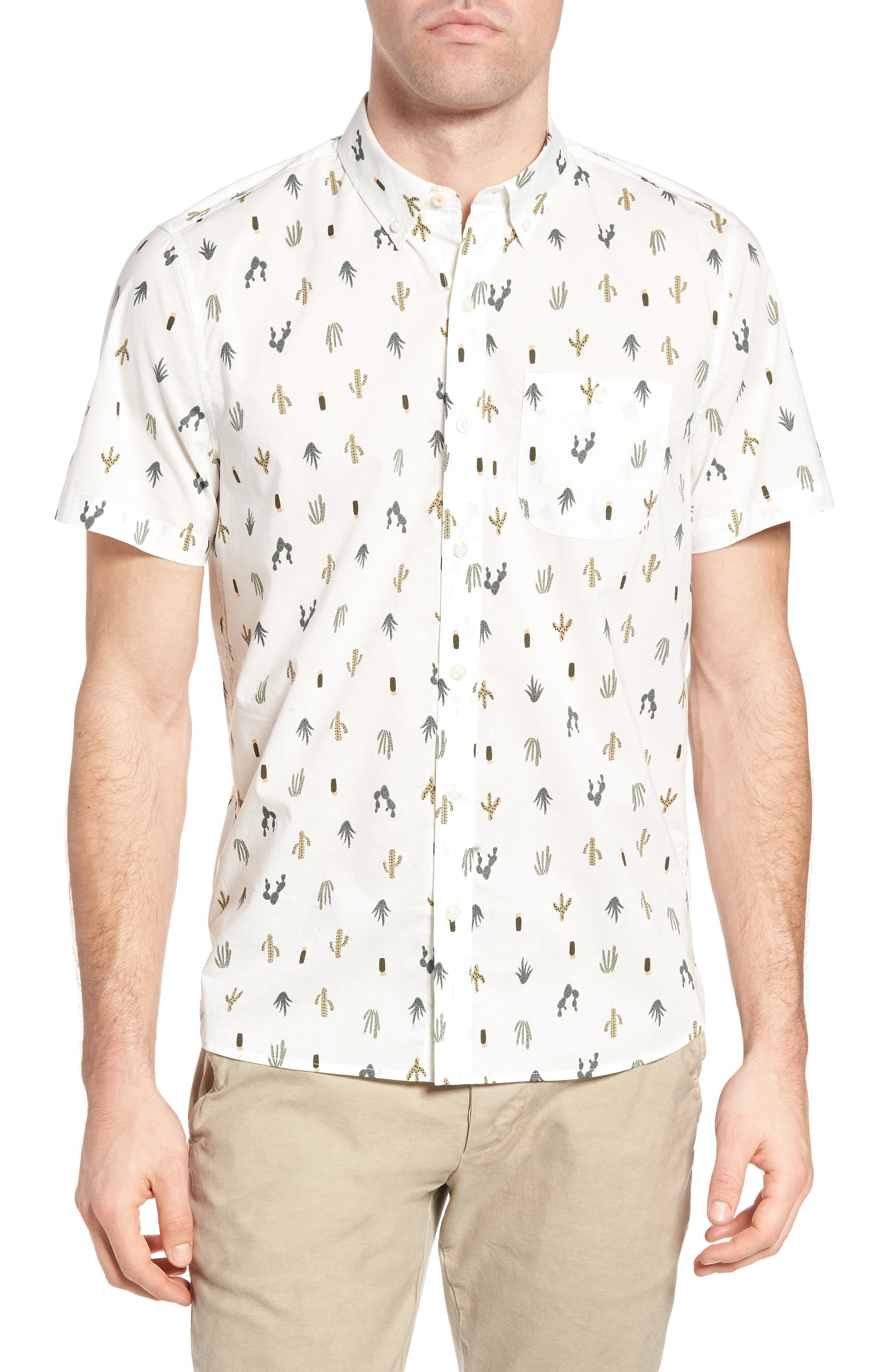 Michael Bastian Cactus Print Sport Shirt