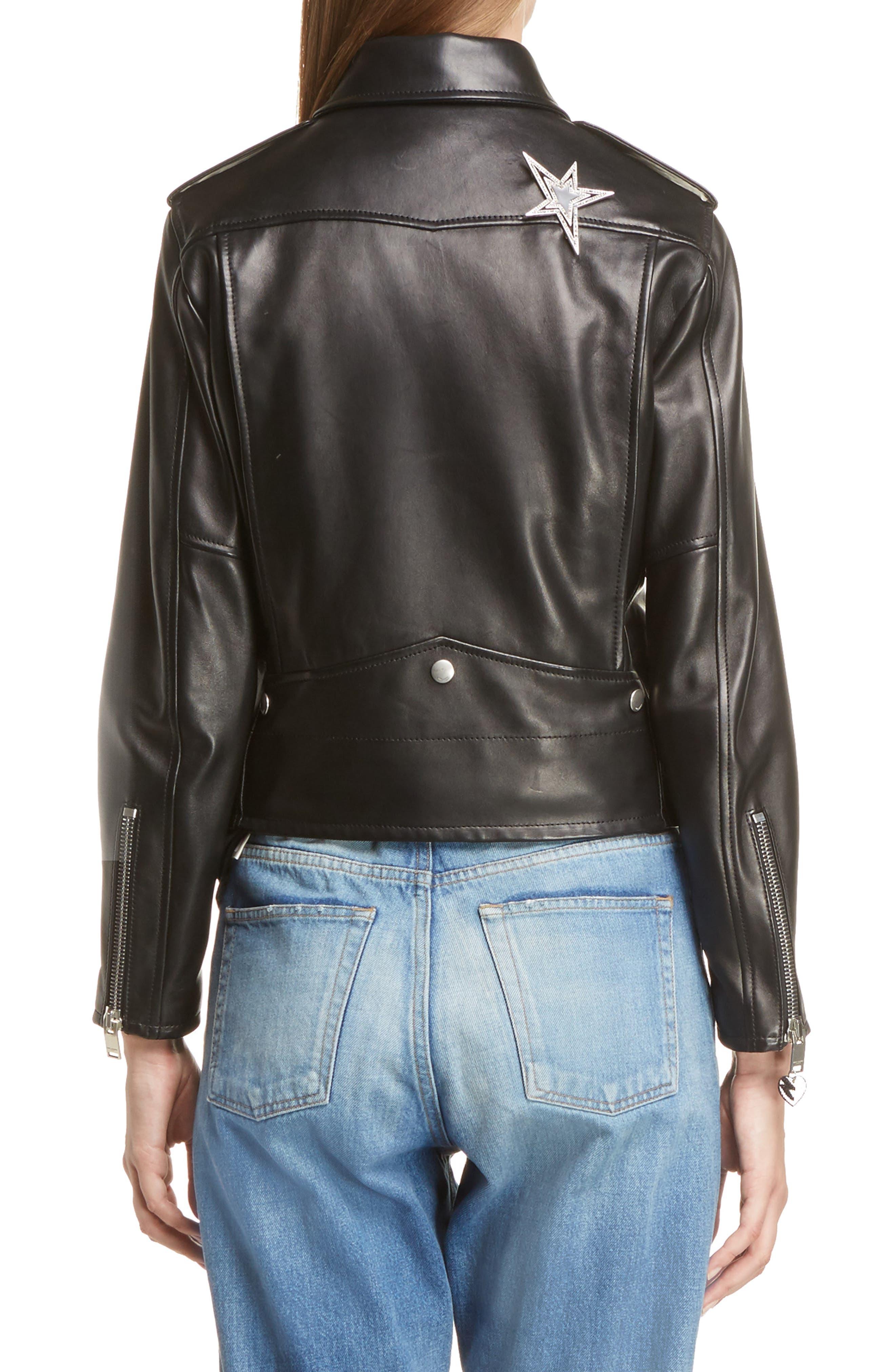 Alternate Image 2  - Saint Laurent YSL Logo Classic Leather Moto Jacket