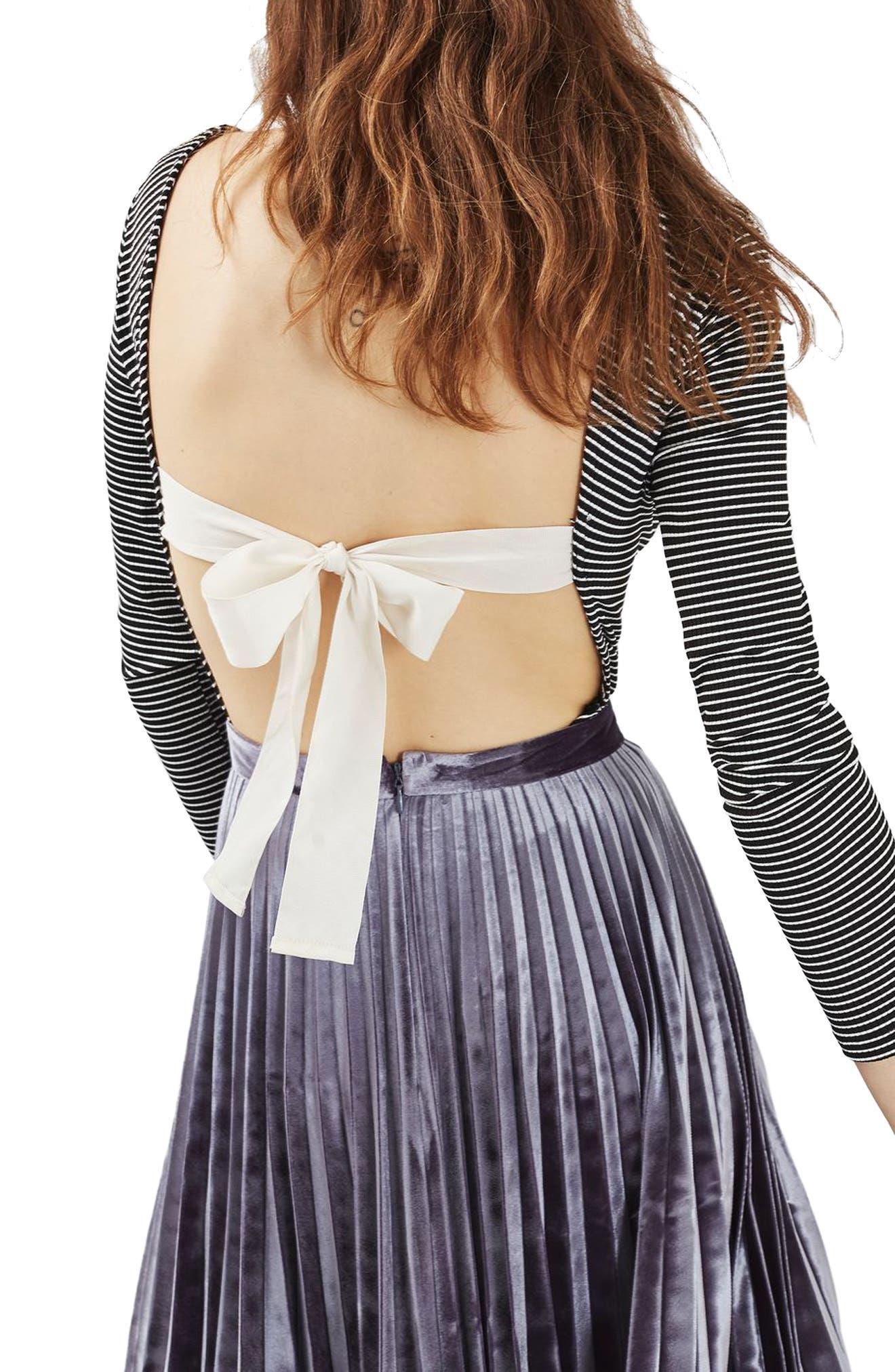 Topshop Bow Back Stripe Bodysuit
