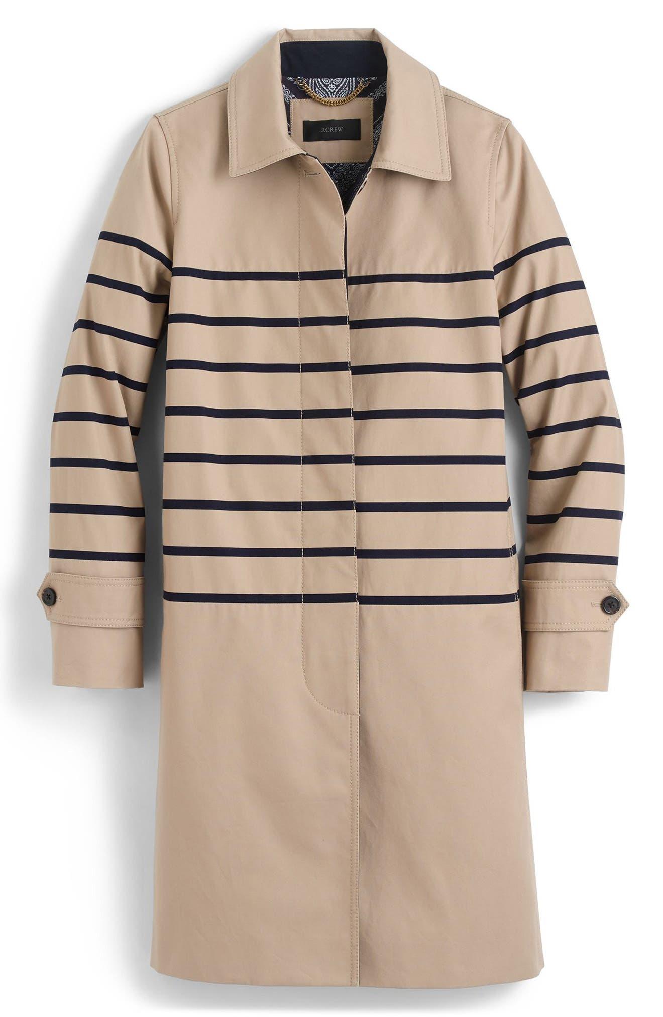 Alternate Image 3  - J.Crew Stripe Trench Coat (Regular & Petite)