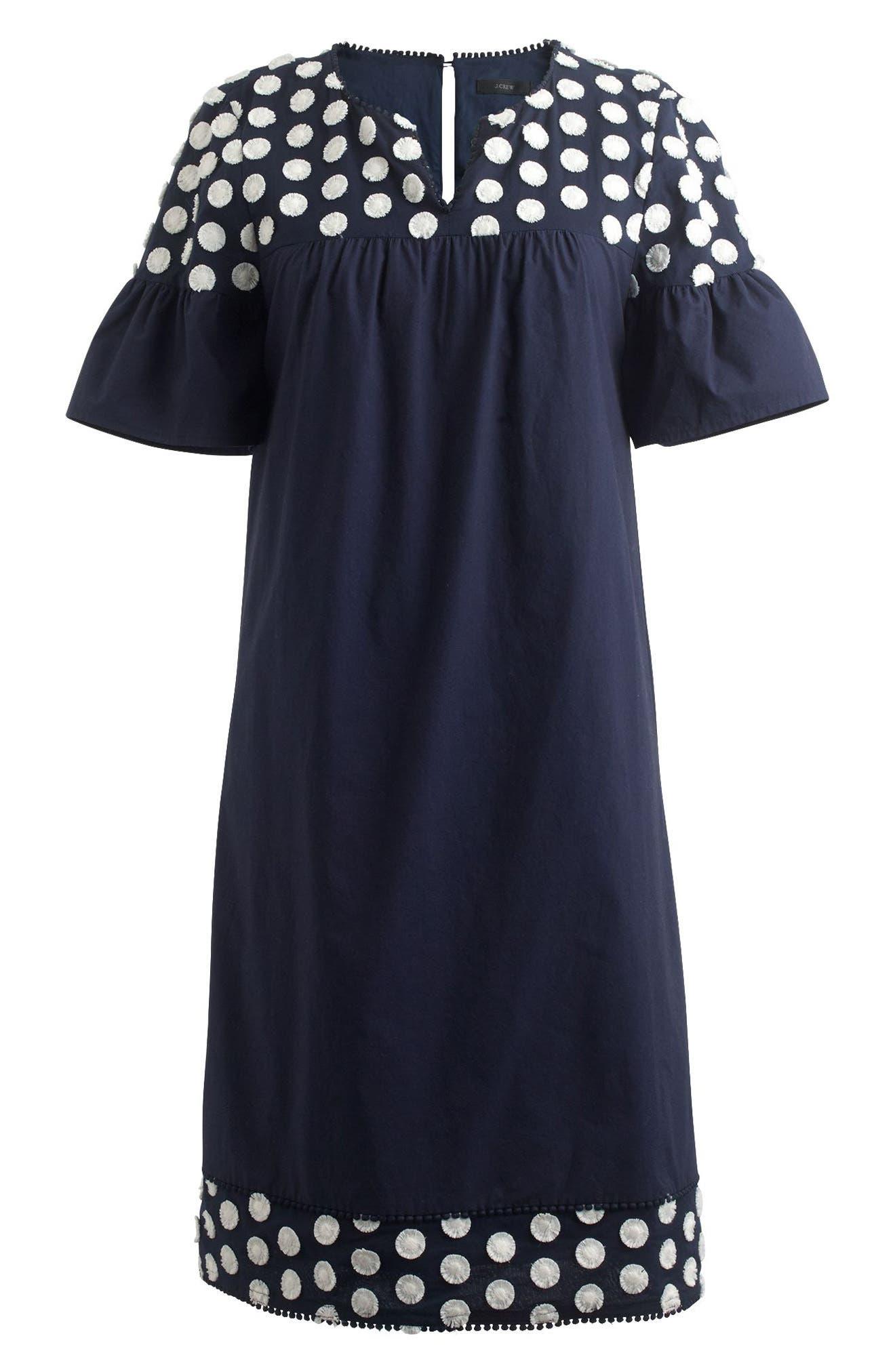 Alternate Image 3  - J.Crew Bell Sleeve Fringe Dot Dress (Regular & Petite)